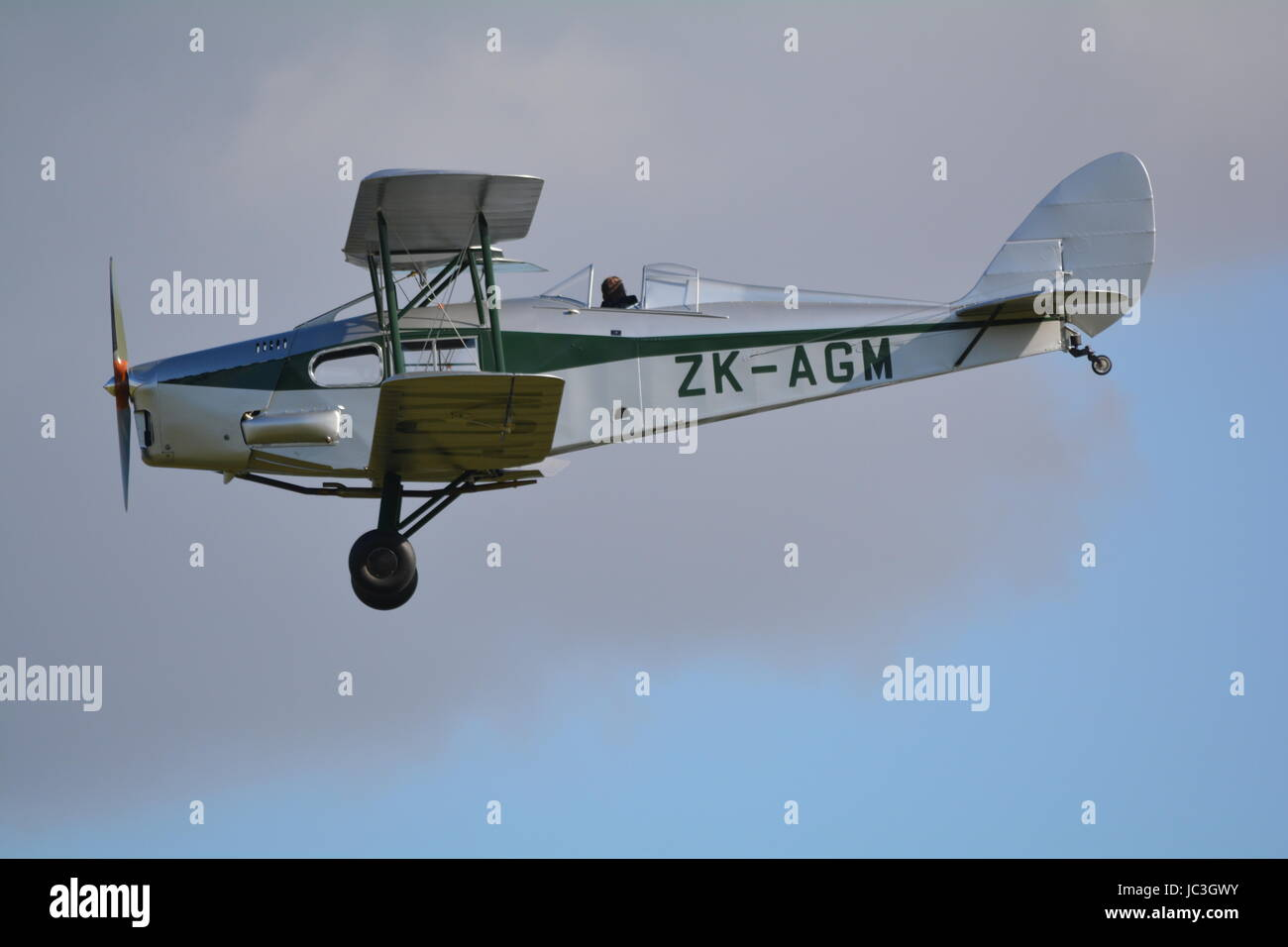 De Havilland DH 83 fox moth ZK AGM, light passenger bi plane. - Stock Image