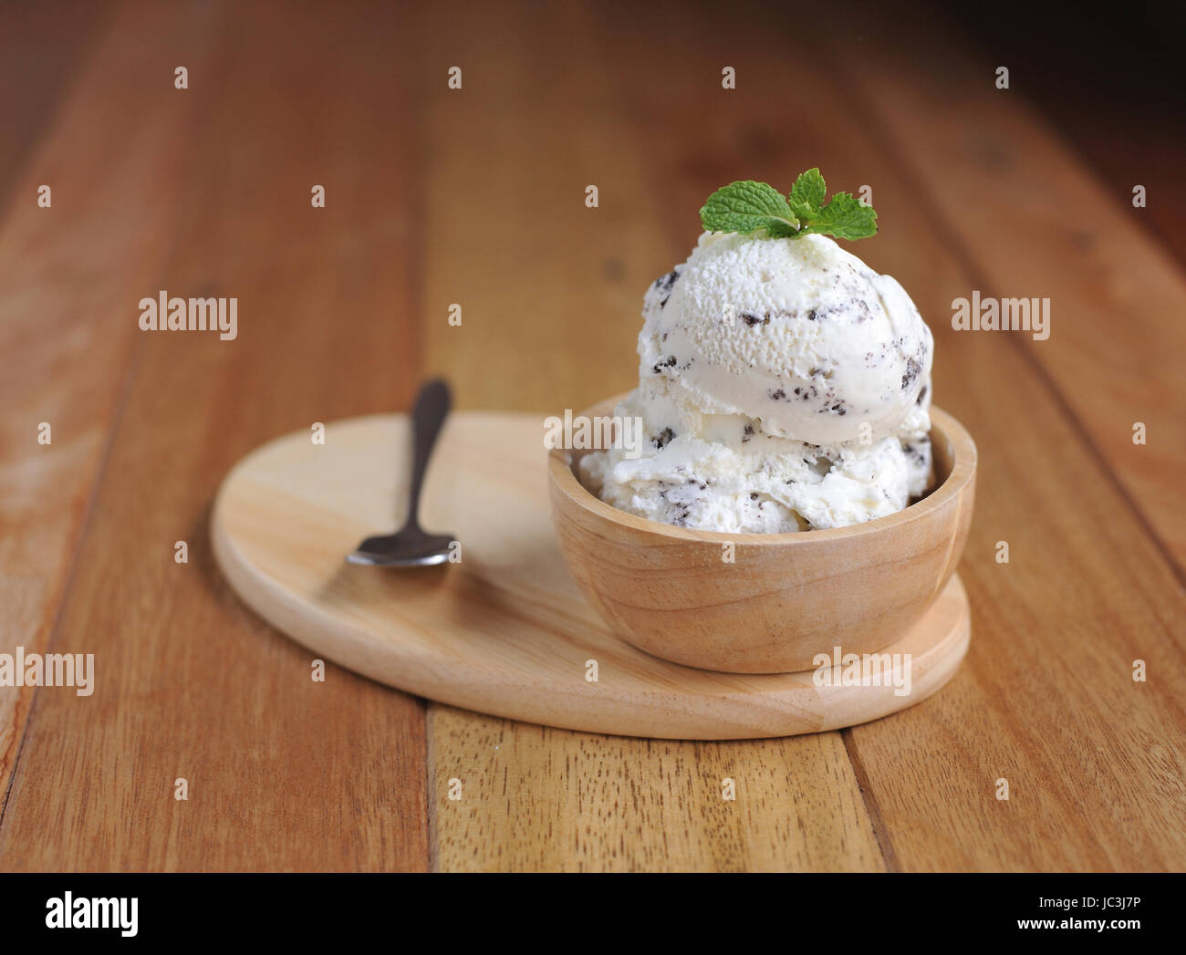 Vanilla Ice Cream with Mint in bowl Homemade Organic product - Stock Image