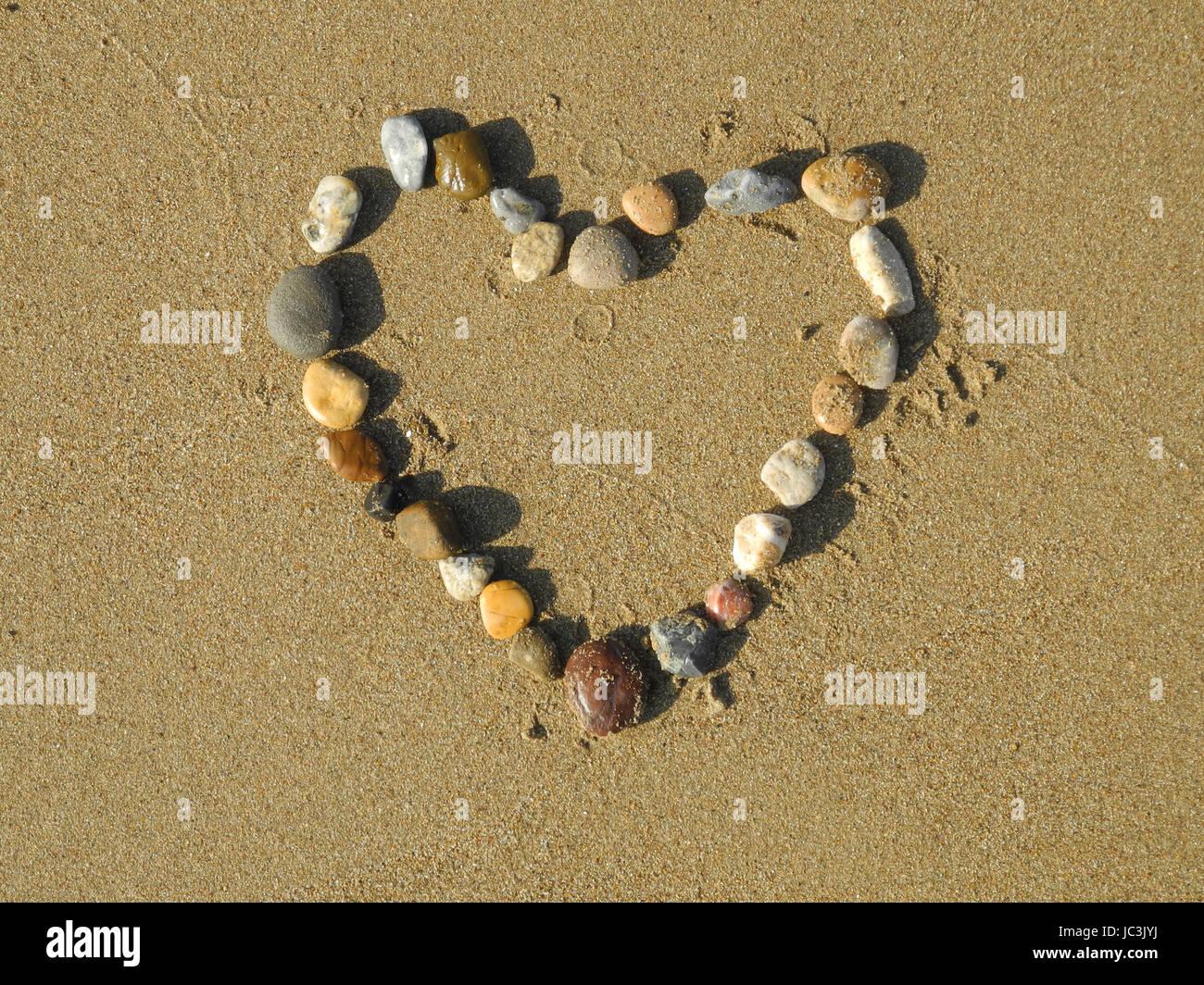 Herz Liebe Sand Strand Sandstrand Geburtstag Hochzeit Stock