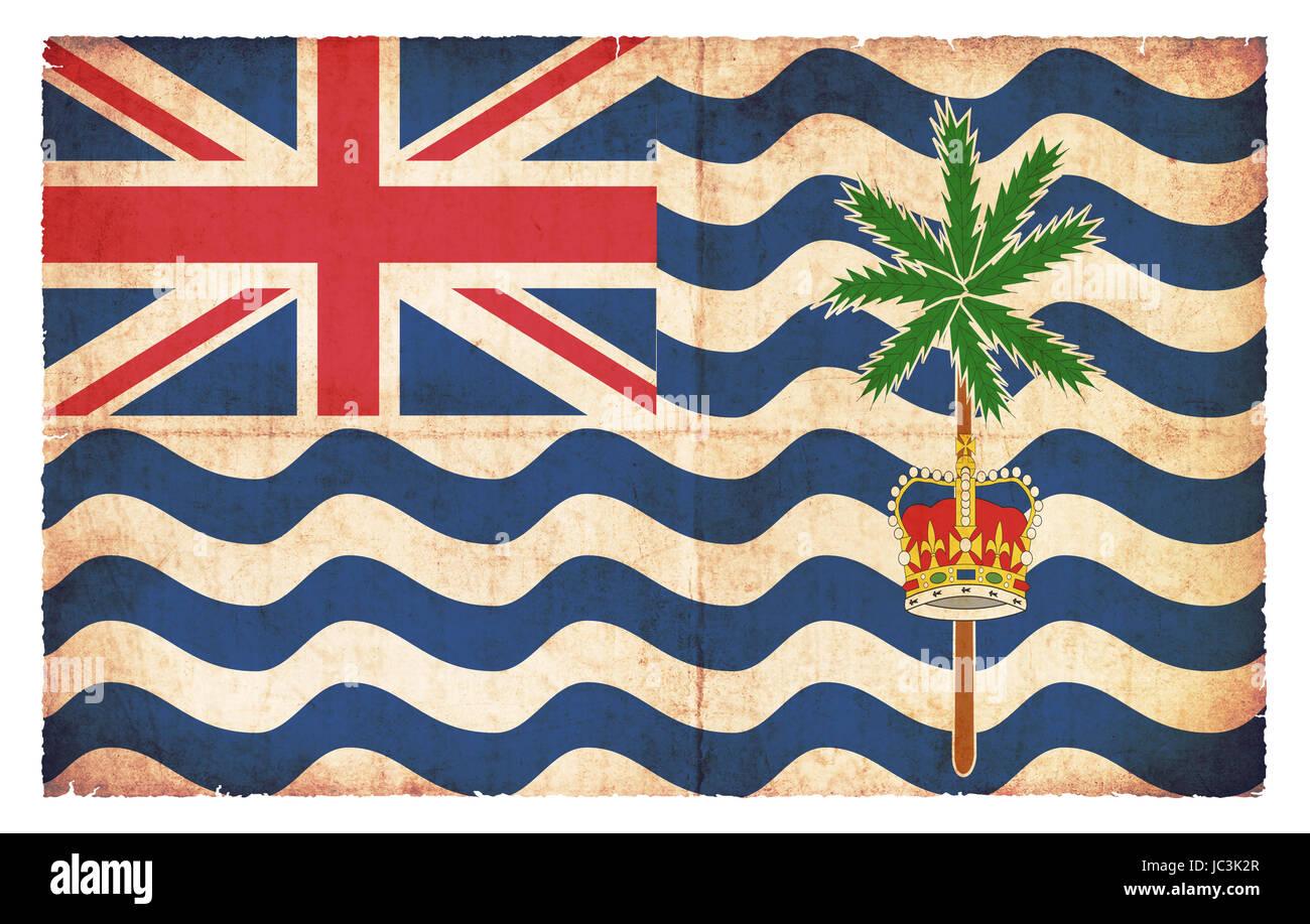 Flagge von Britisches Territoriums im Indischen Ozean (Großbritanien) im Grunge-Design - Stock Image