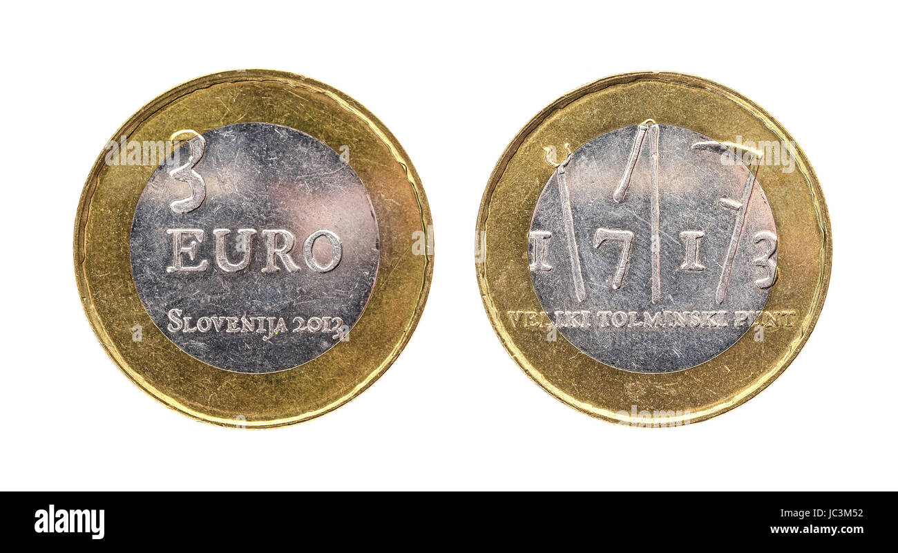 dfa49d3203 Used commemorative anniversary bimetal 3 euro Slovenia coin 2013. Worn out  special three euro coin
