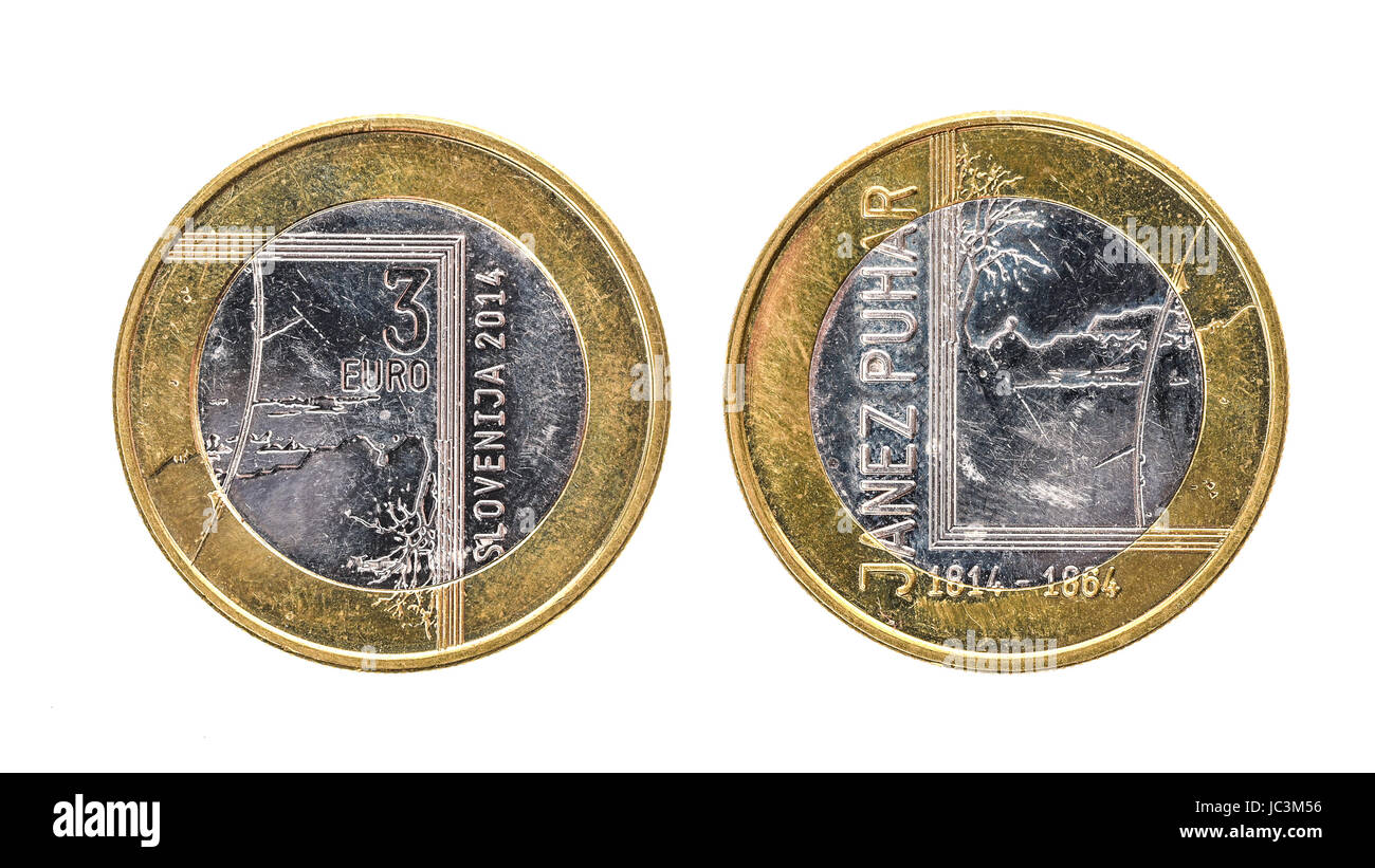 b77b200d54 Used commemorative anniversary bimetal 3 euro Slovenia coin 2014. Worn out  special three euro coin