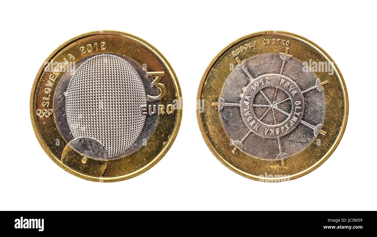 7974e1e04c Used commemorative anniversary bimetal 3 euro Slovenia coin 2012. Worn out  special three euro coin