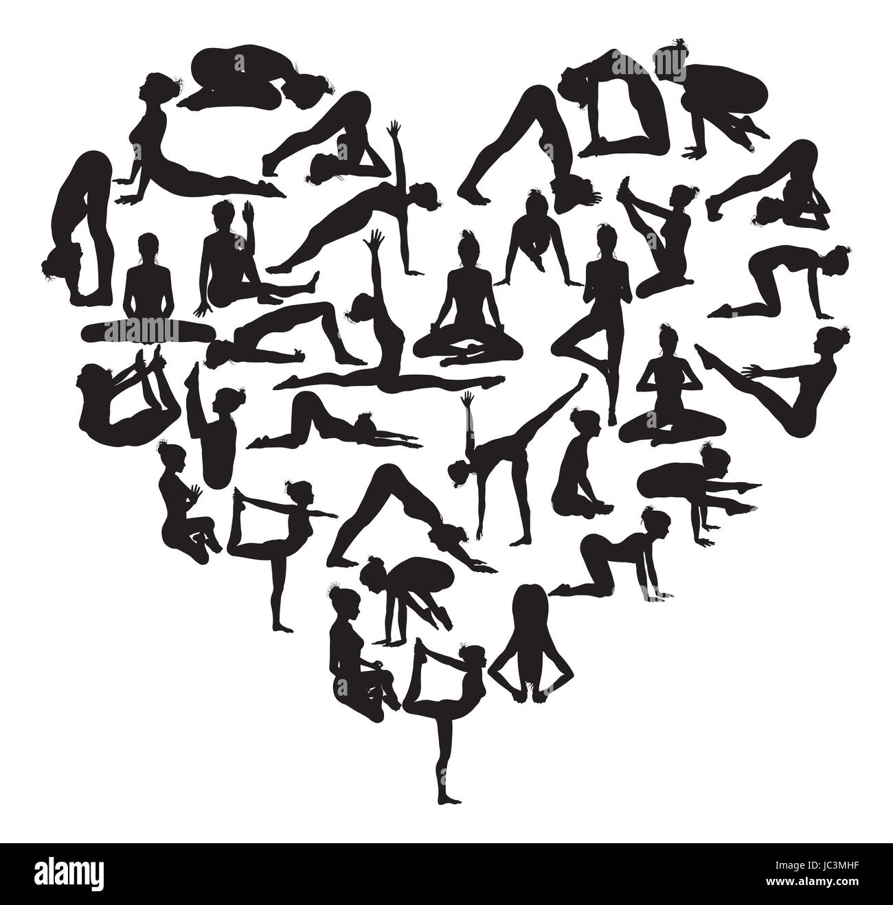 A heart shape made from silhouettes in yoga or pilates poses - Stock Image