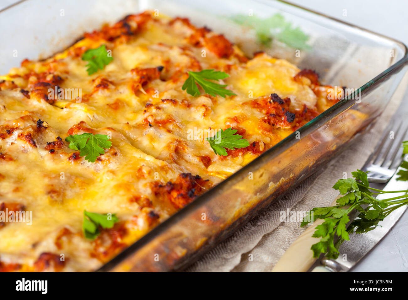 Traditional Italian Meat Lasagna Baked In Glass Form Stock