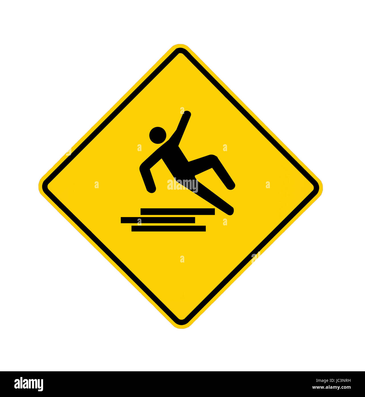 Yellow road sign with slipping man, with path - Stock Image