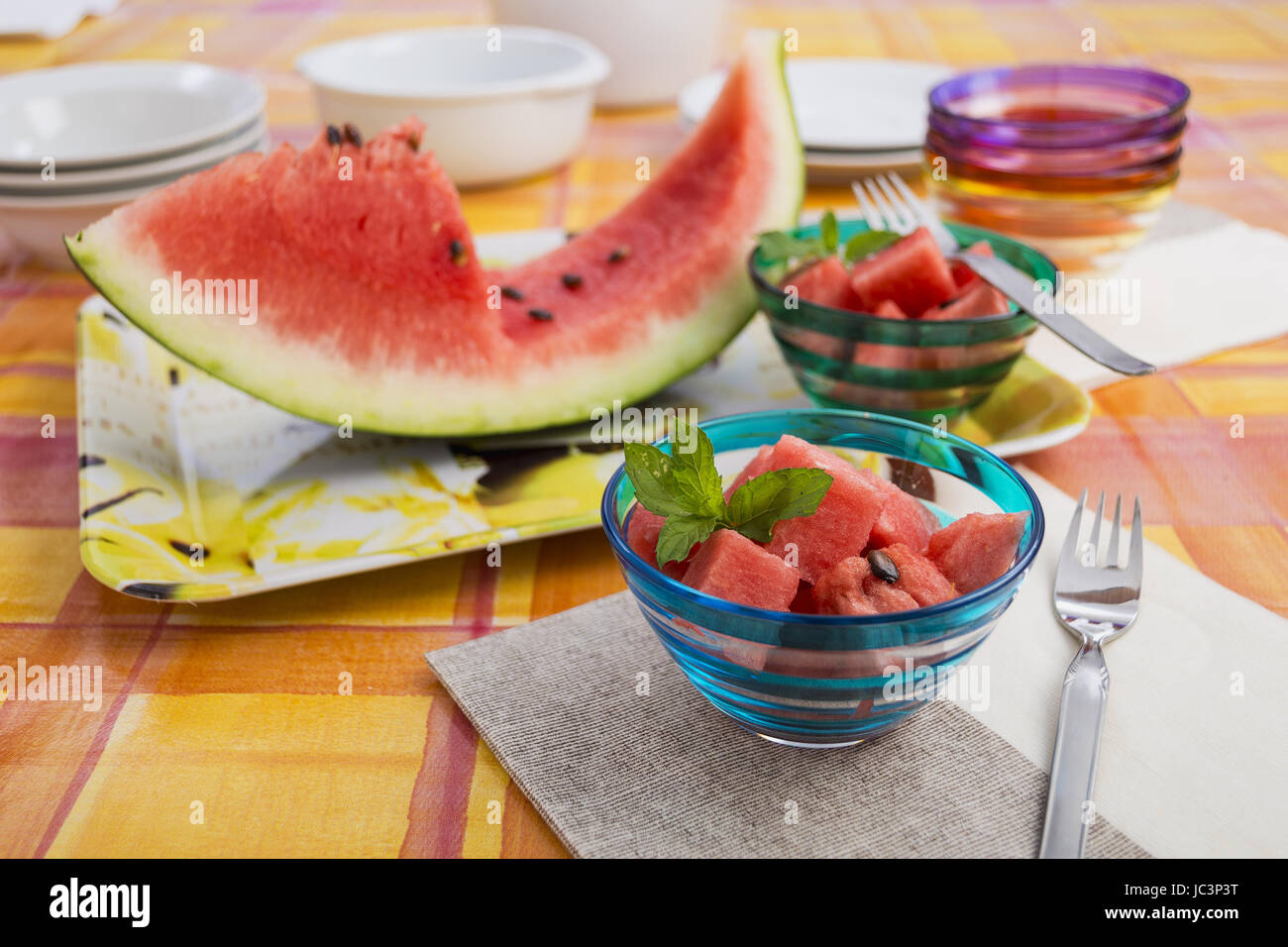 Watermelon slice and pieces - Stock Image
