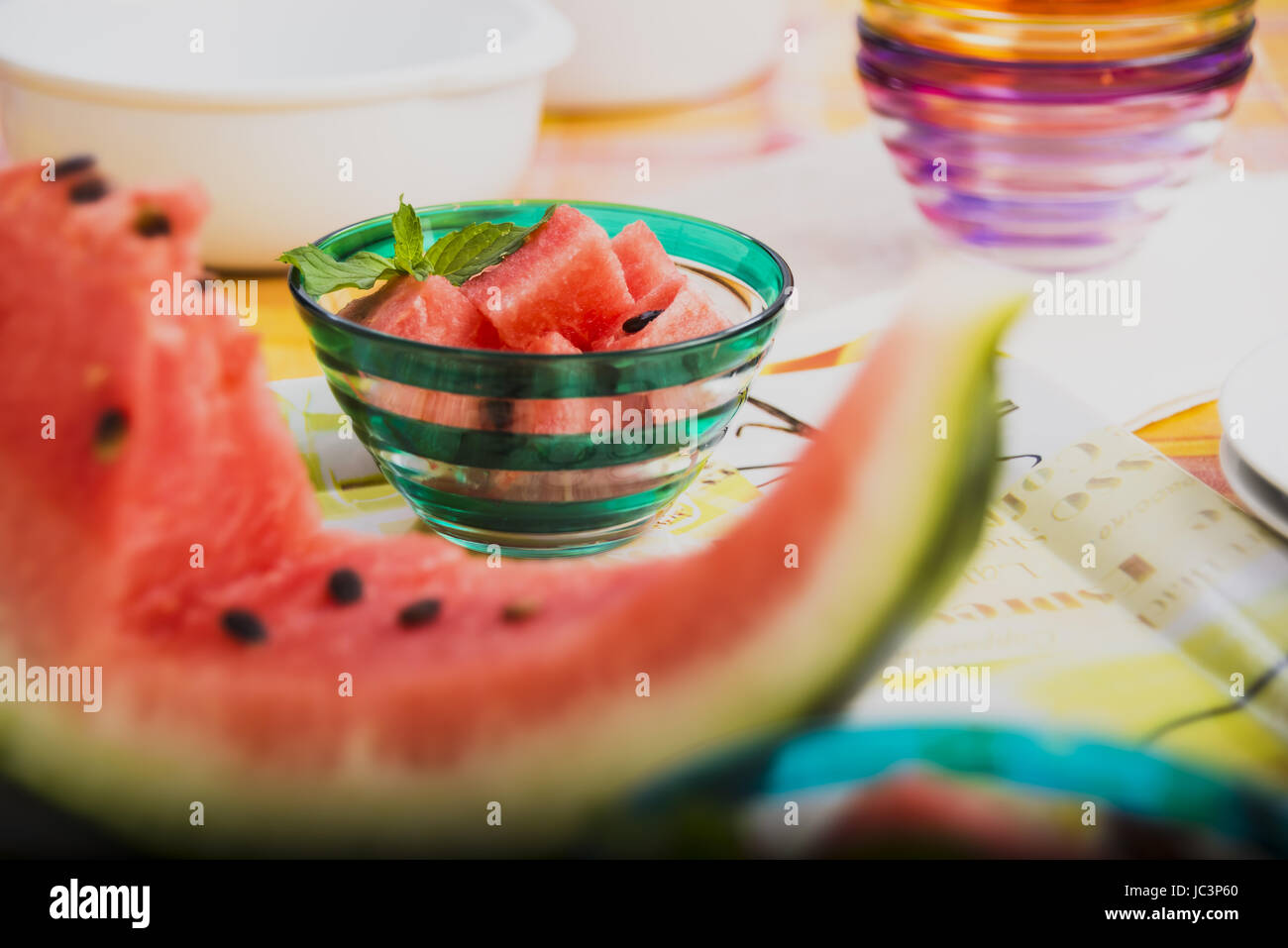 Watermelon slice and bowl pieces on the second floor - Stock Image