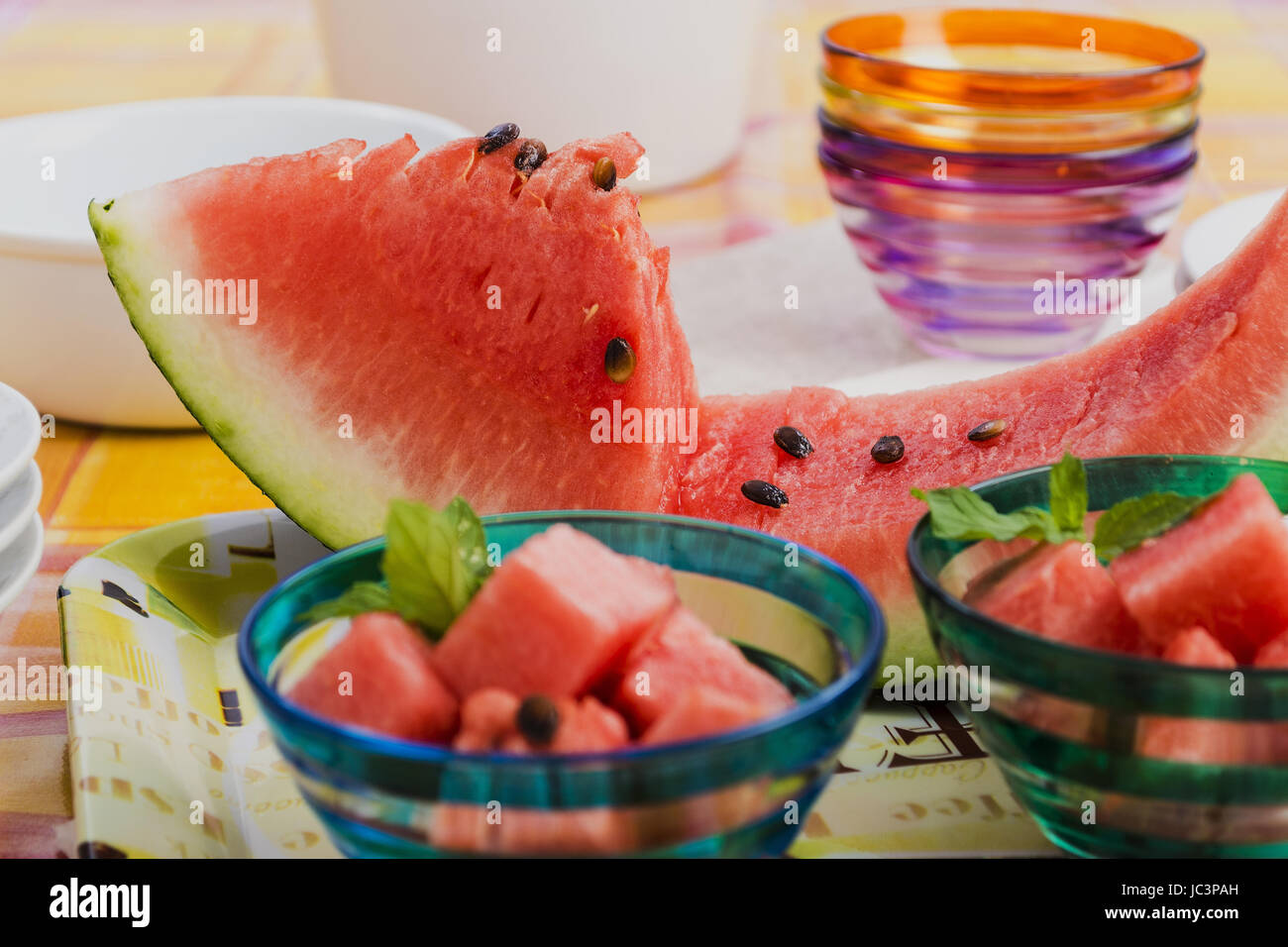 Slice watermelon and very flat pieces 2 - Stock Image