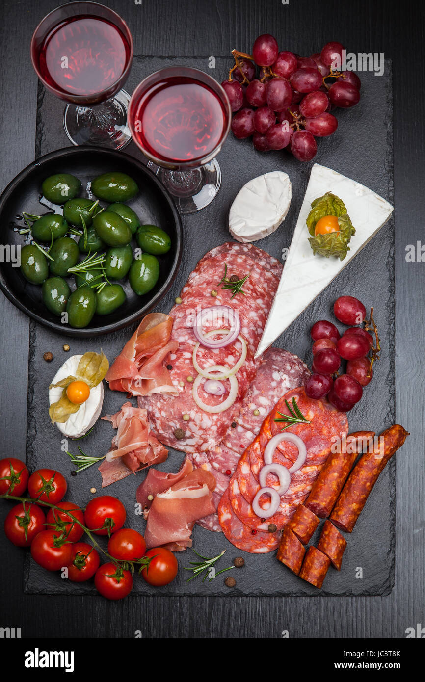 Platter of antipasti and appetizers - Stock Image