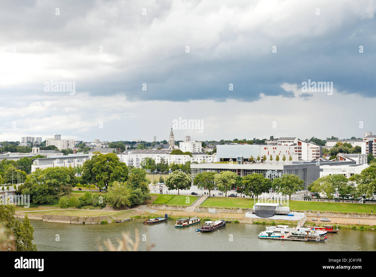 view of urban port on La Maine river in Angers city, France - Stock Image