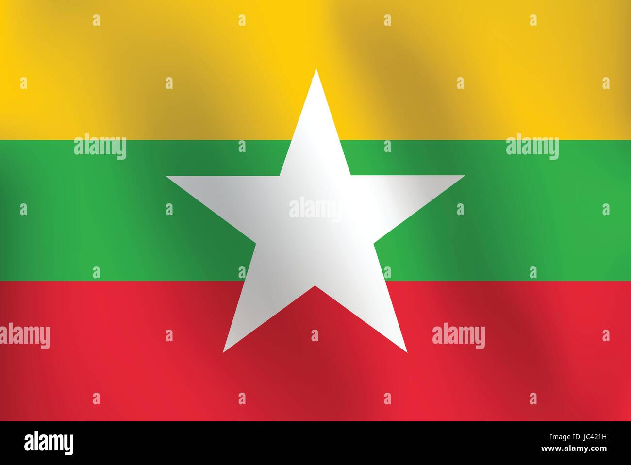 Flag of Burma with a little Waving, Shading & Flag Colors separated layers - Vector Illustration - Stock Vector