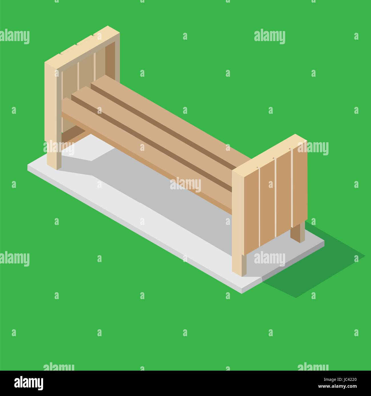 Isolated wooden benches for the Park. Isometric style on green background. Decorative city element - Vector illustration. - Stock Vector