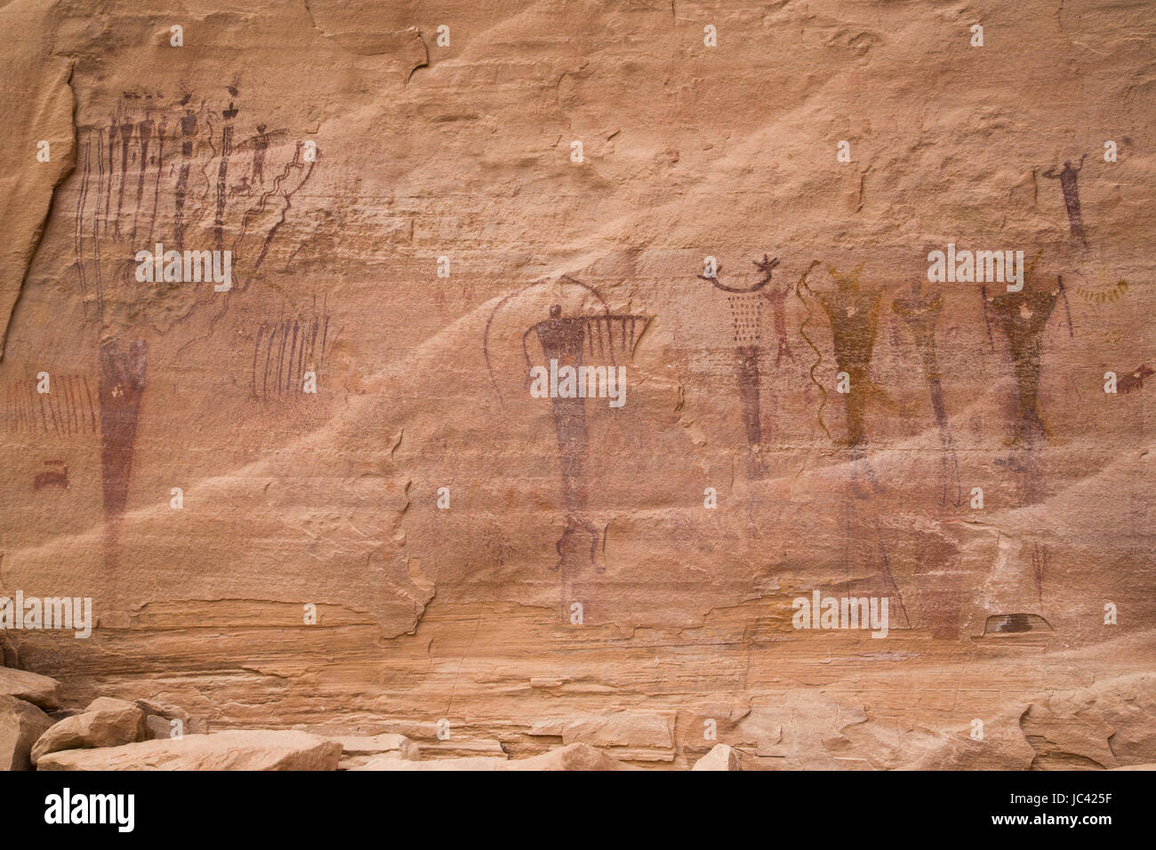 Buckhorn Wash Pictograph Panel, San Rafael Swell, Utah, USA - Stock Image