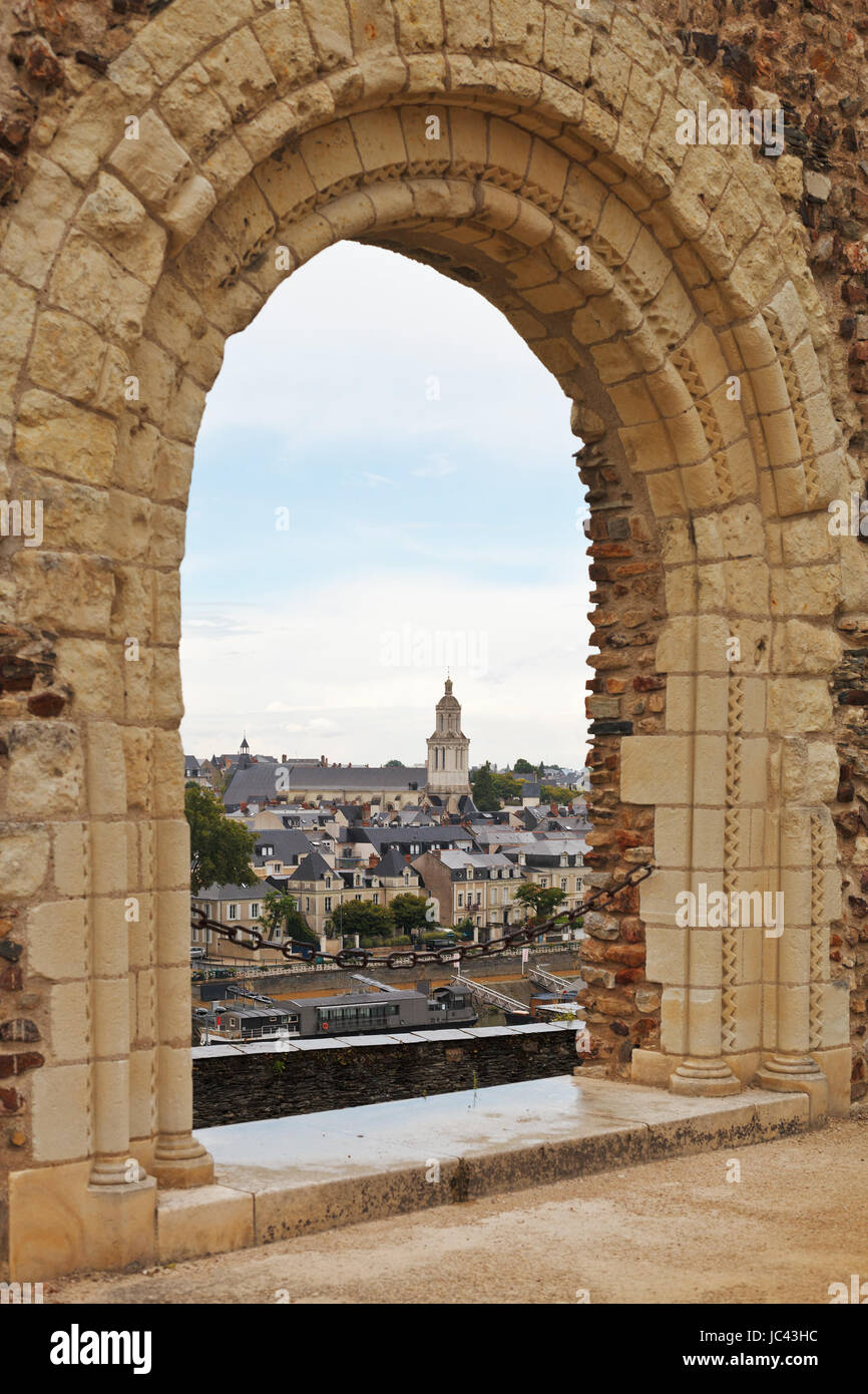 view of urban port and quay des Carmes from Angers Castle, France - Stock Image