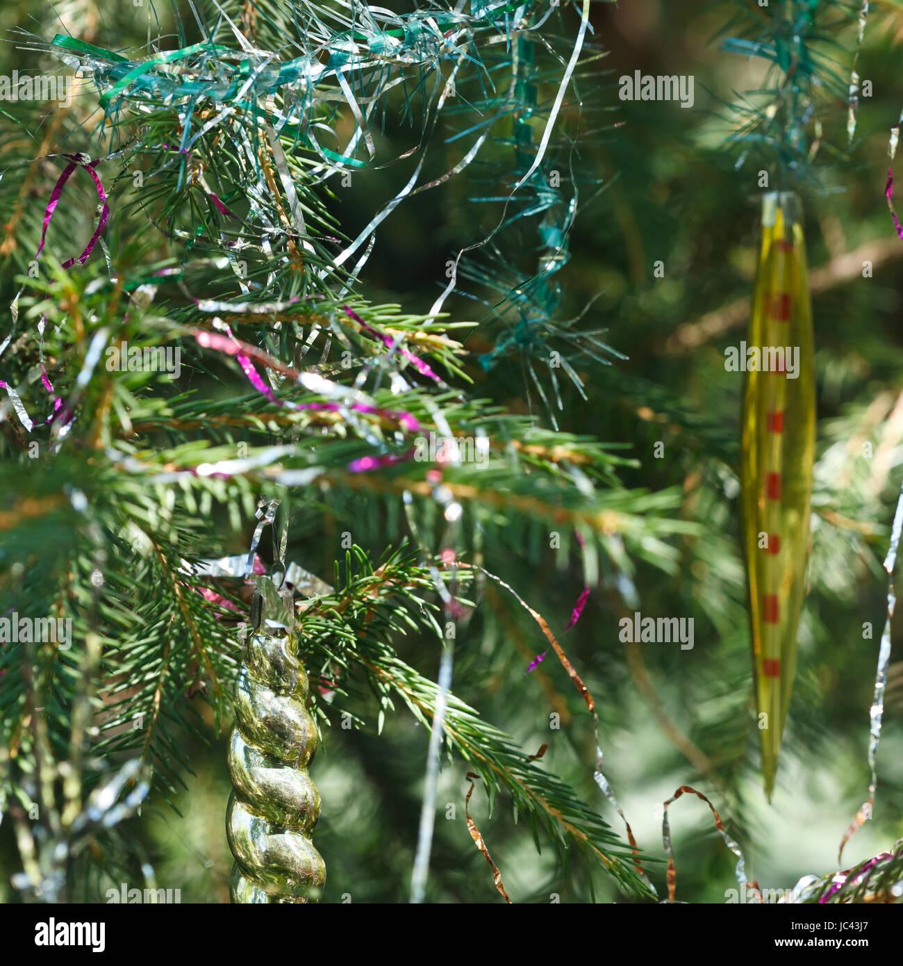 vintage icicles christmas tree decoration close up stock image - Icicles For Christmas Tree