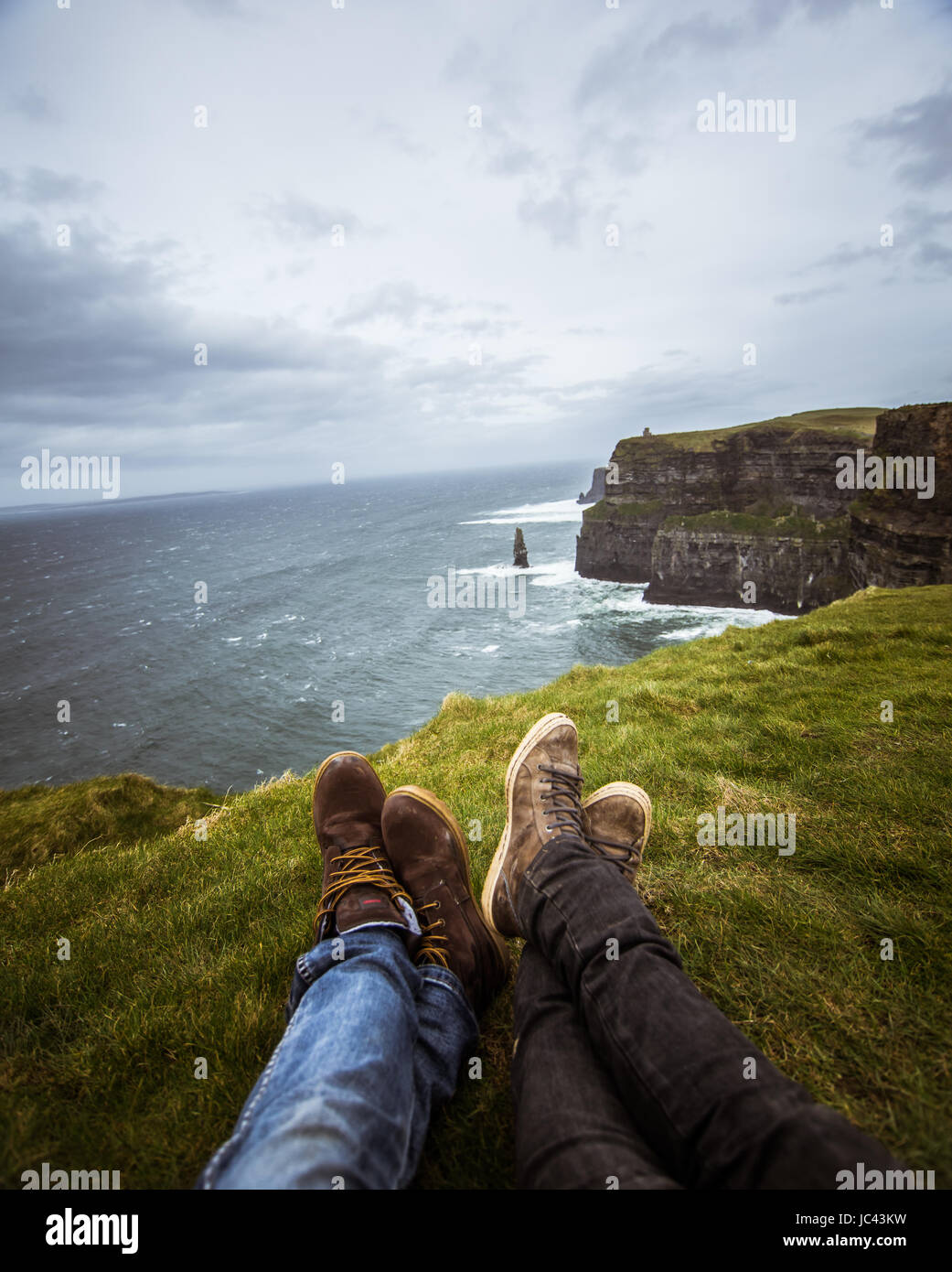 e3a69a17dd768 A beautiful feet selfie at the coast of Atlantic ocean in Ireland. - Stock  Image