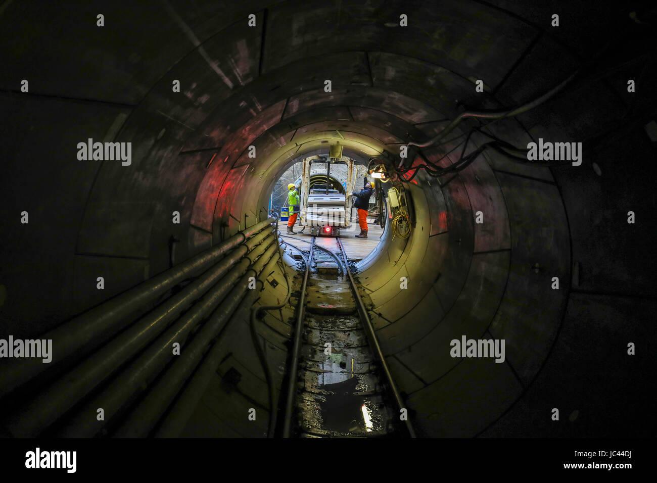 Emscher wastewater sewer, Emscher conversion, new sewer, tunnel drive, construction site, AKE, BA40, Oberhausen, Stock Photo