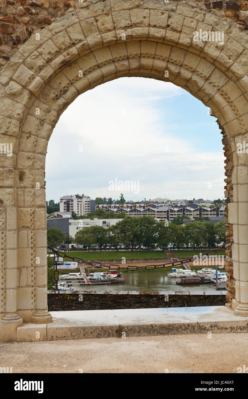 view of urban port from Angers Castle, France - Stock Image