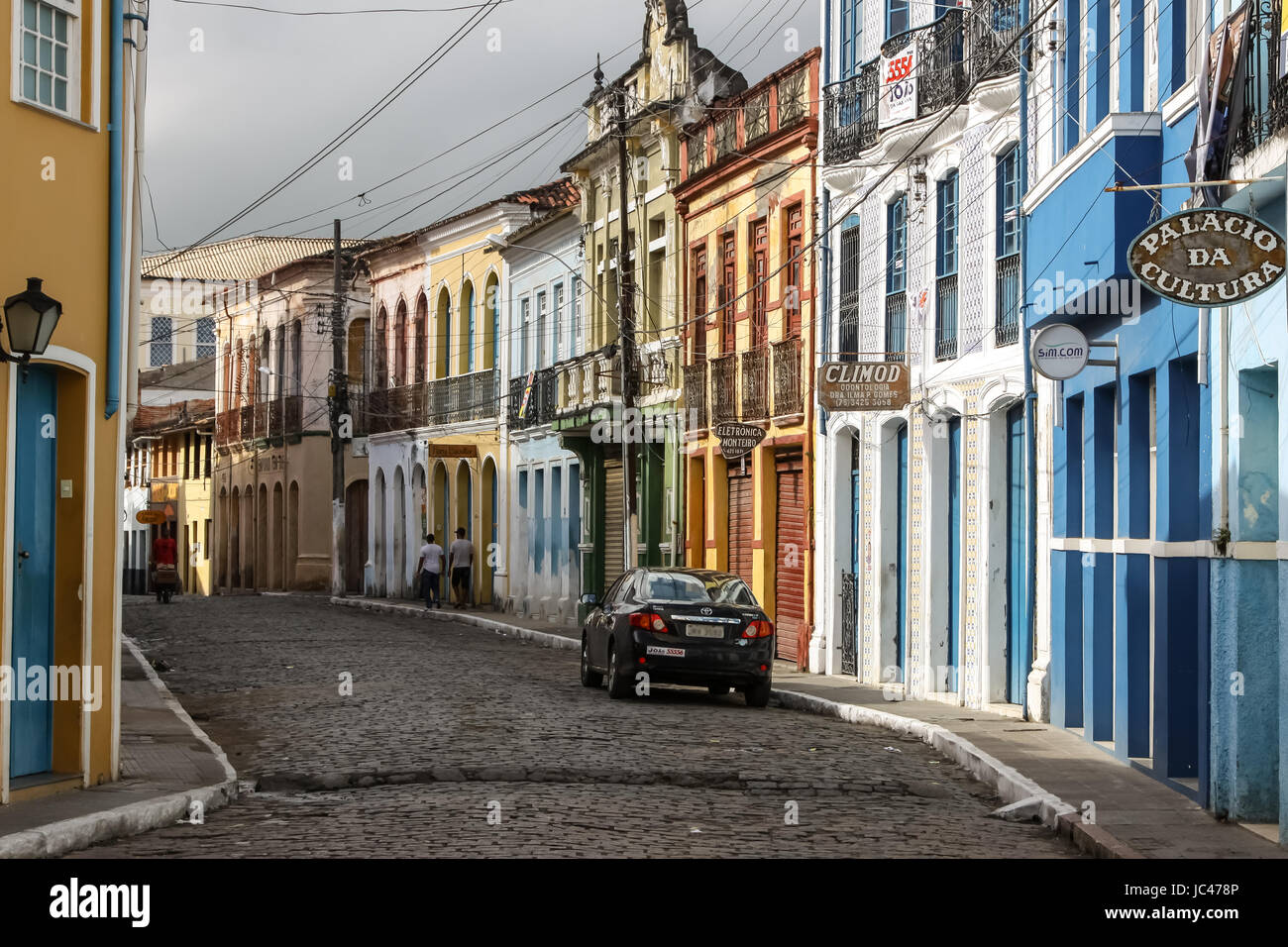 View of a street with colorful buildings in Cachoeira, a colonial city in Bahia, Brazil - Stock Image
