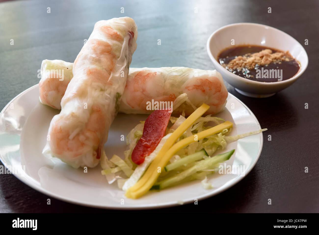 rice rolls with shrimps,  vietnamese Restaurant Yumi,Grindelallee 22,  Hamburg-Rotherbaum, Germany, Europe - Stock Image