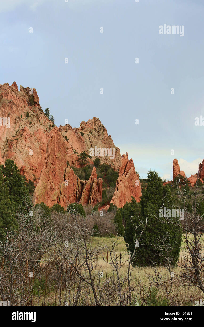 Red rock pinnacle formations rising behind various trees at the Garden of the Gods in Colorado Springs, Colorado, - Stock Image