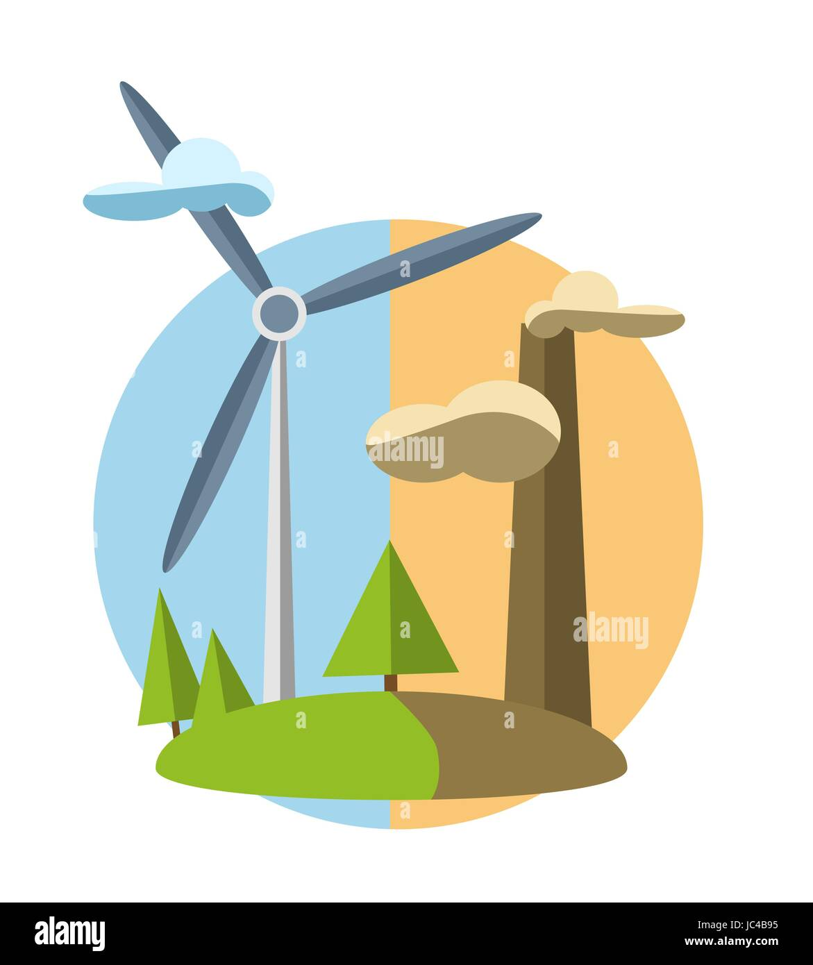 concept illustration with icon of green energy  - Stock Vector
