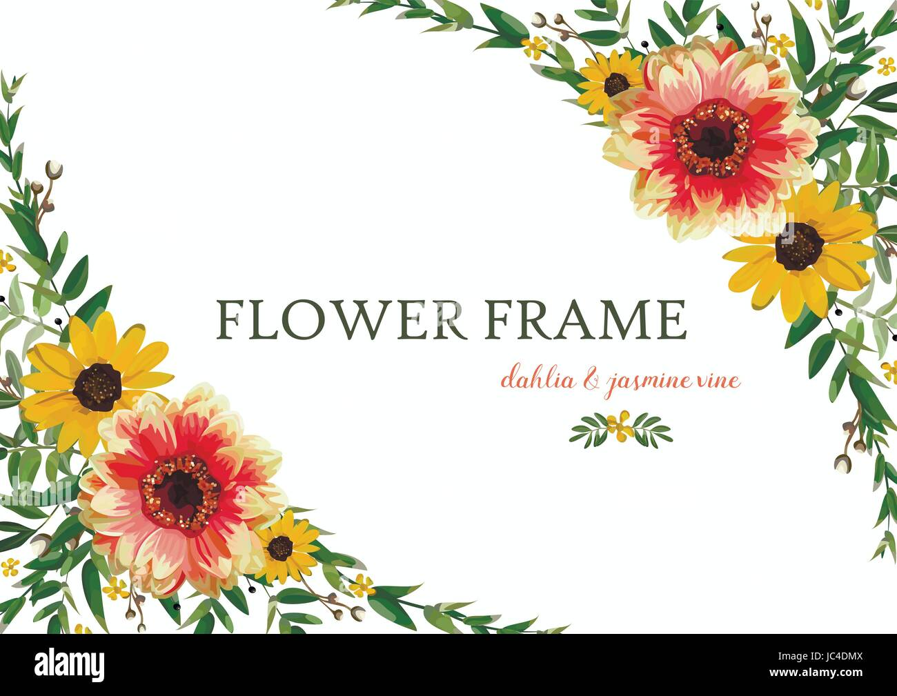 Flower Wreath Yellow Orange Dahlia Sunflower Eucalyptus Leaves Stock Vector Image Art Alamy