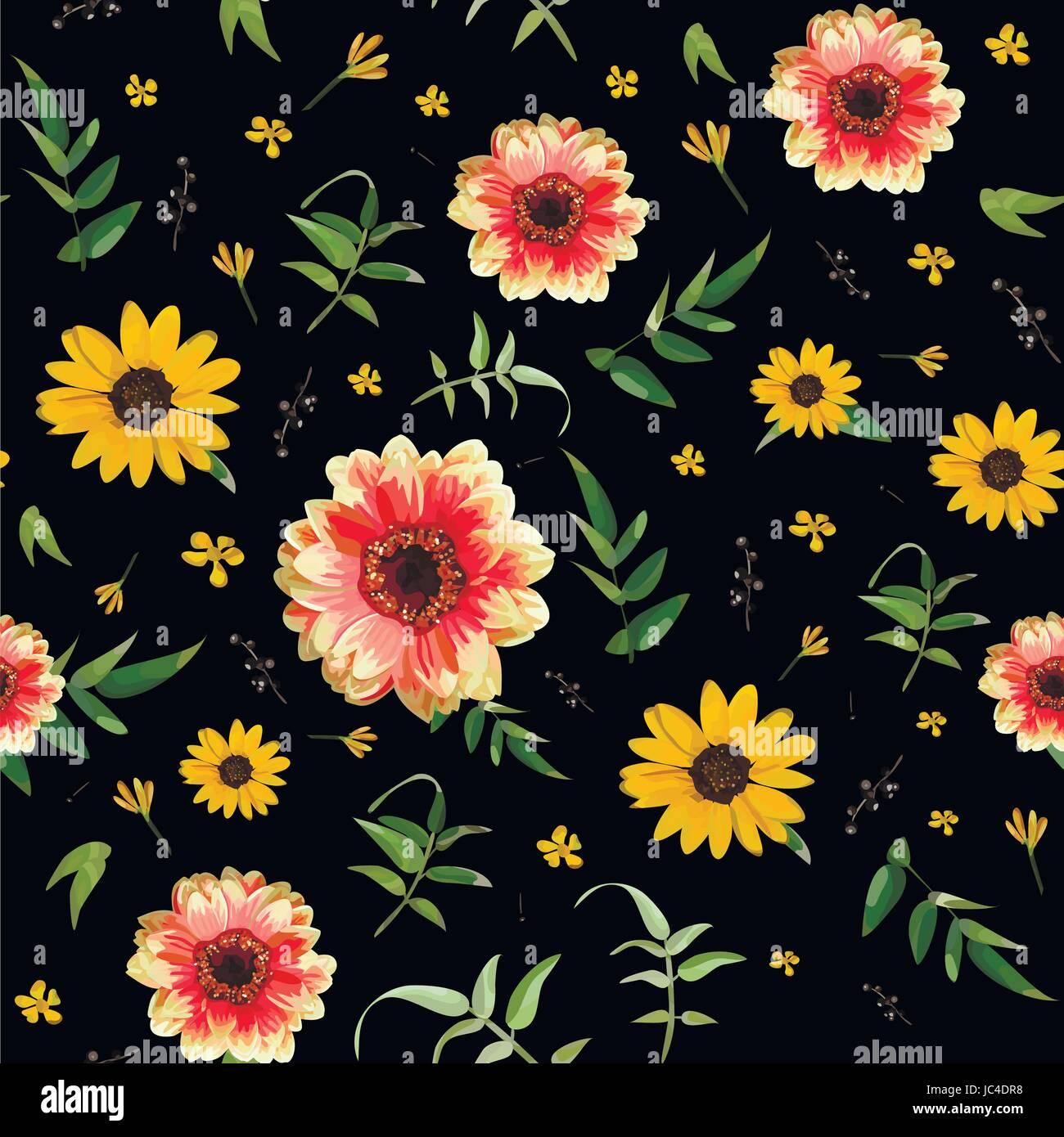 Vintage Floral Orange Dahlia Flower Yellow Sunflower Tiny