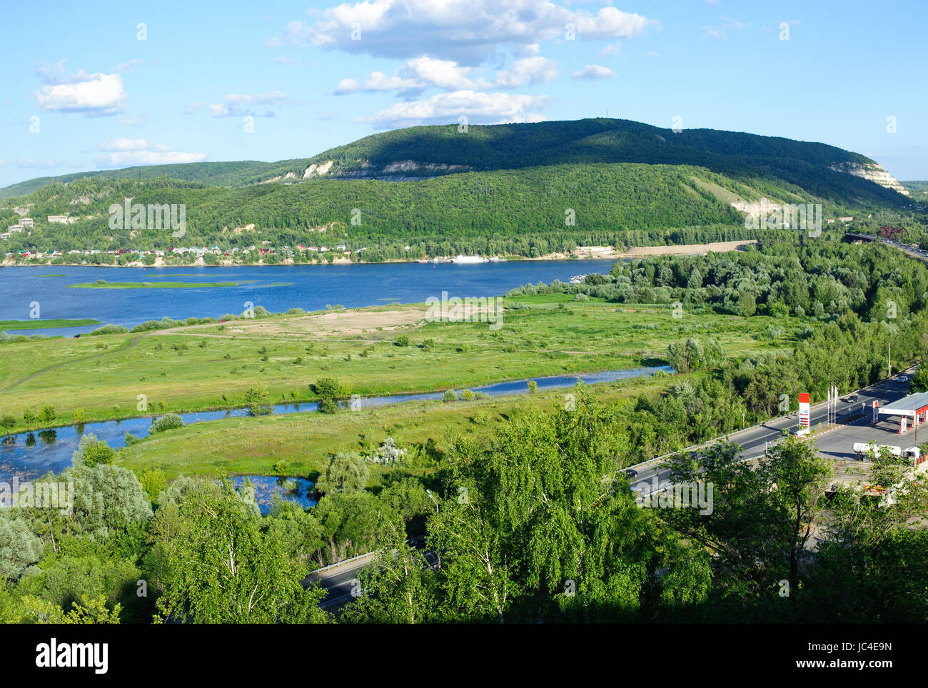 Amazing panoramic view from Tsarev hill near Samara city at summer sunny day.Beautiful natural landscape. - Stock Image