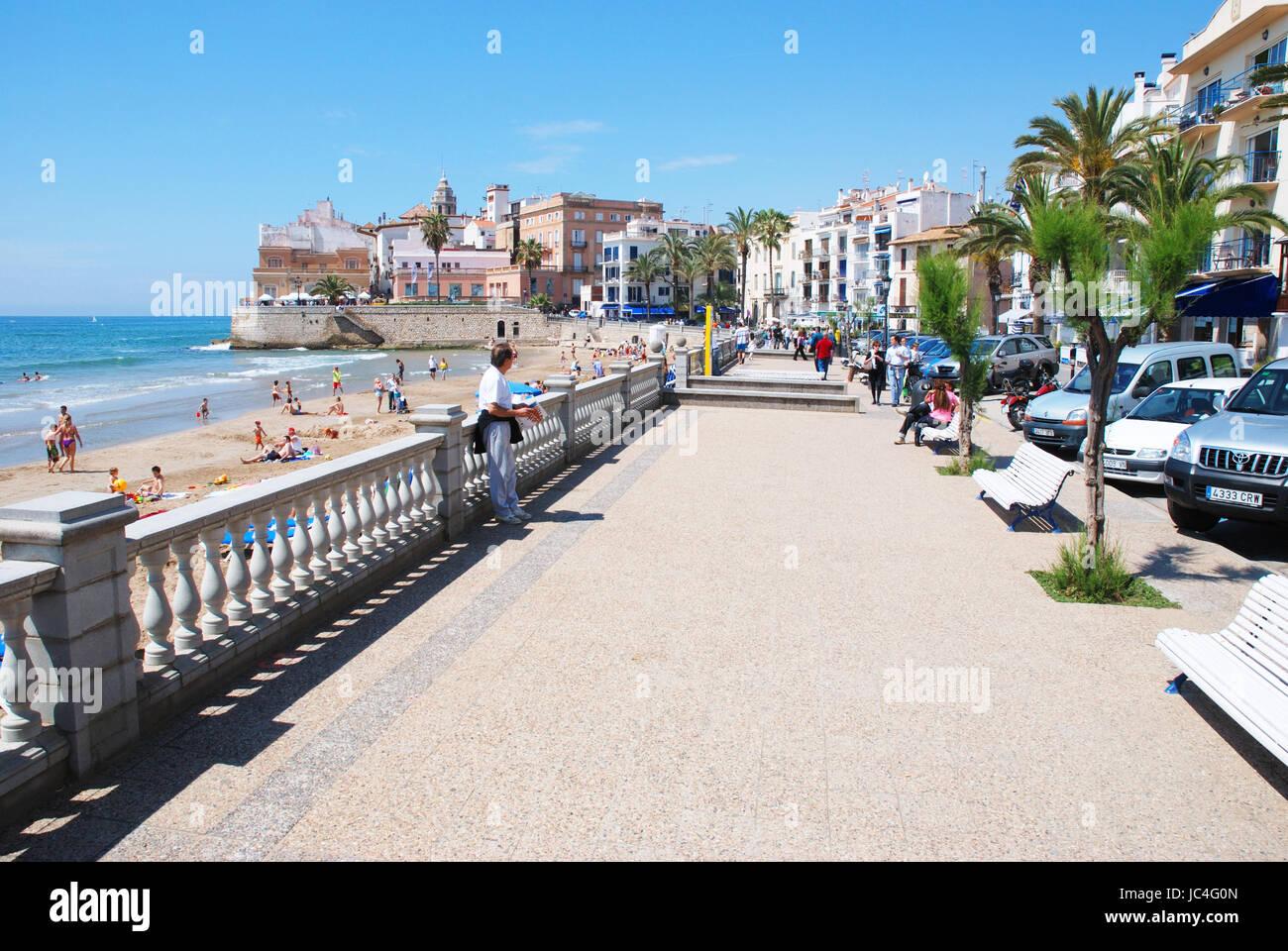 Promenade. Sitges, Barcelona province, Catalonia, Spain. - Stock Image