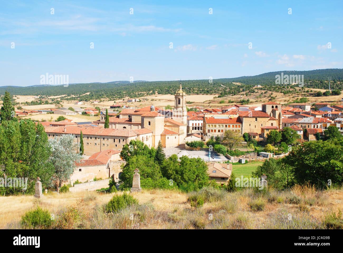 Overview of the village. Santo Domingo de Silos, Burgos province, Castilla Leon, Spain. - Stock Image