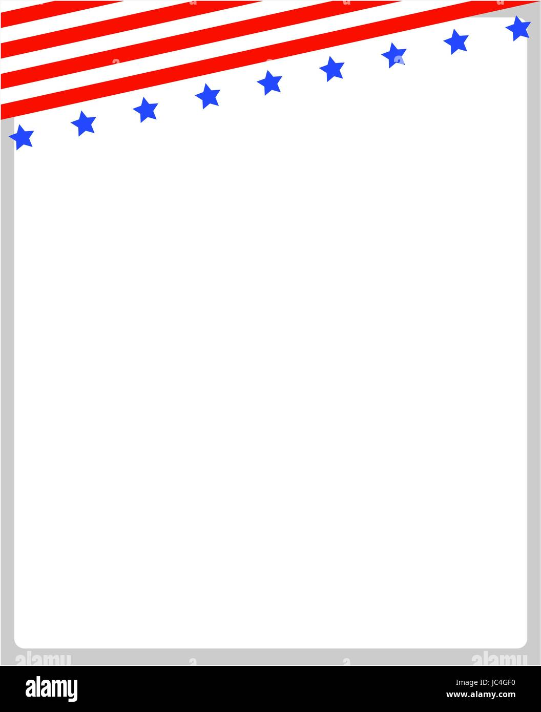 Frame with abstract American flag at the top and copy space for your text and images - Stock Vector