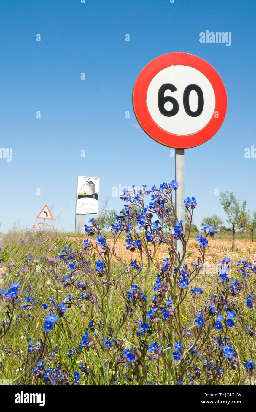 Road signs. Alcazar de San Juan, Ciudad Real province, Castilla La Mancha, Spain. Stock Photo