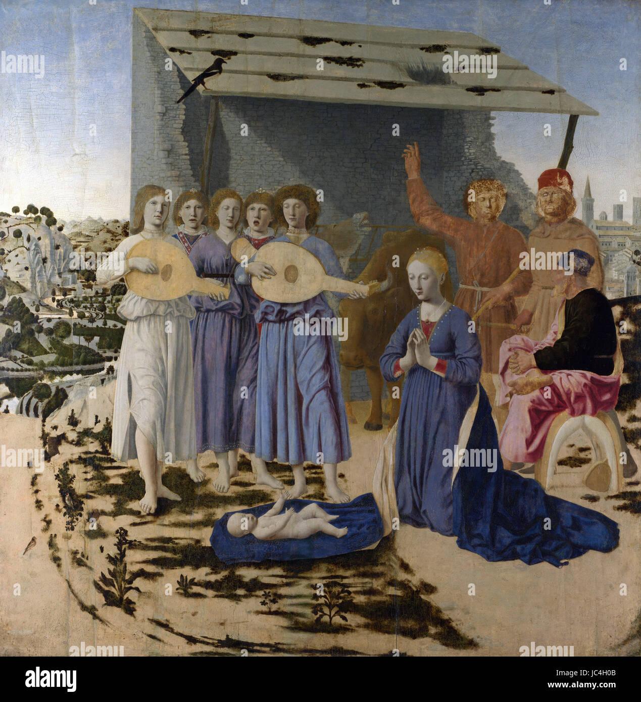 Piero della Francesca - The Nativity   1470 Stock Photo