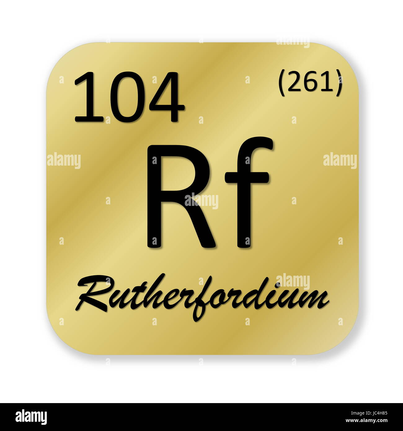 Black rutherfordium element into golden square shape isolated in white background Stock Photo