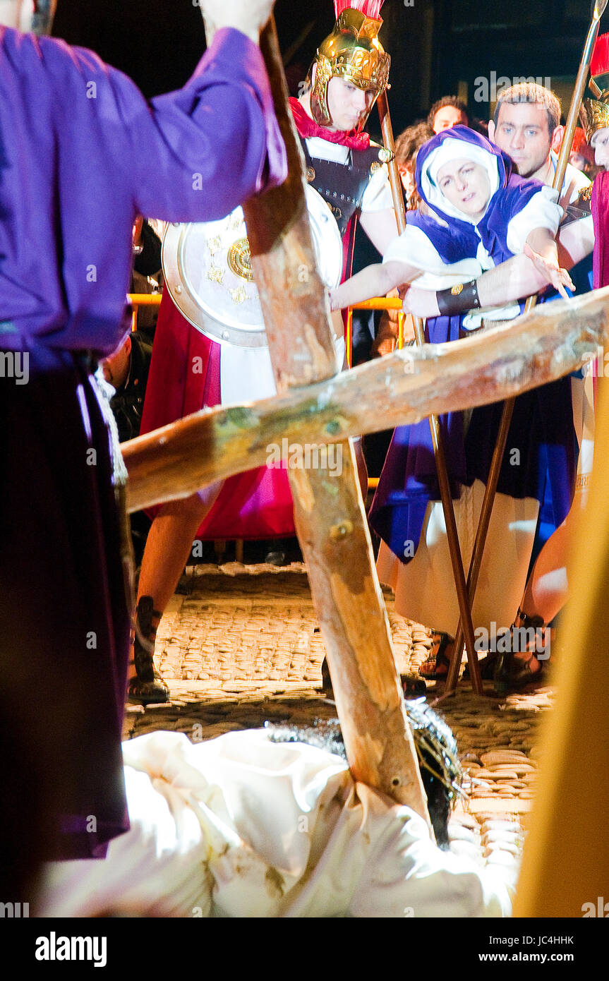 Jesus falling with the cross in front of his Mother. Passion of Chinchon, Madrid province, Spain. Stock Photo