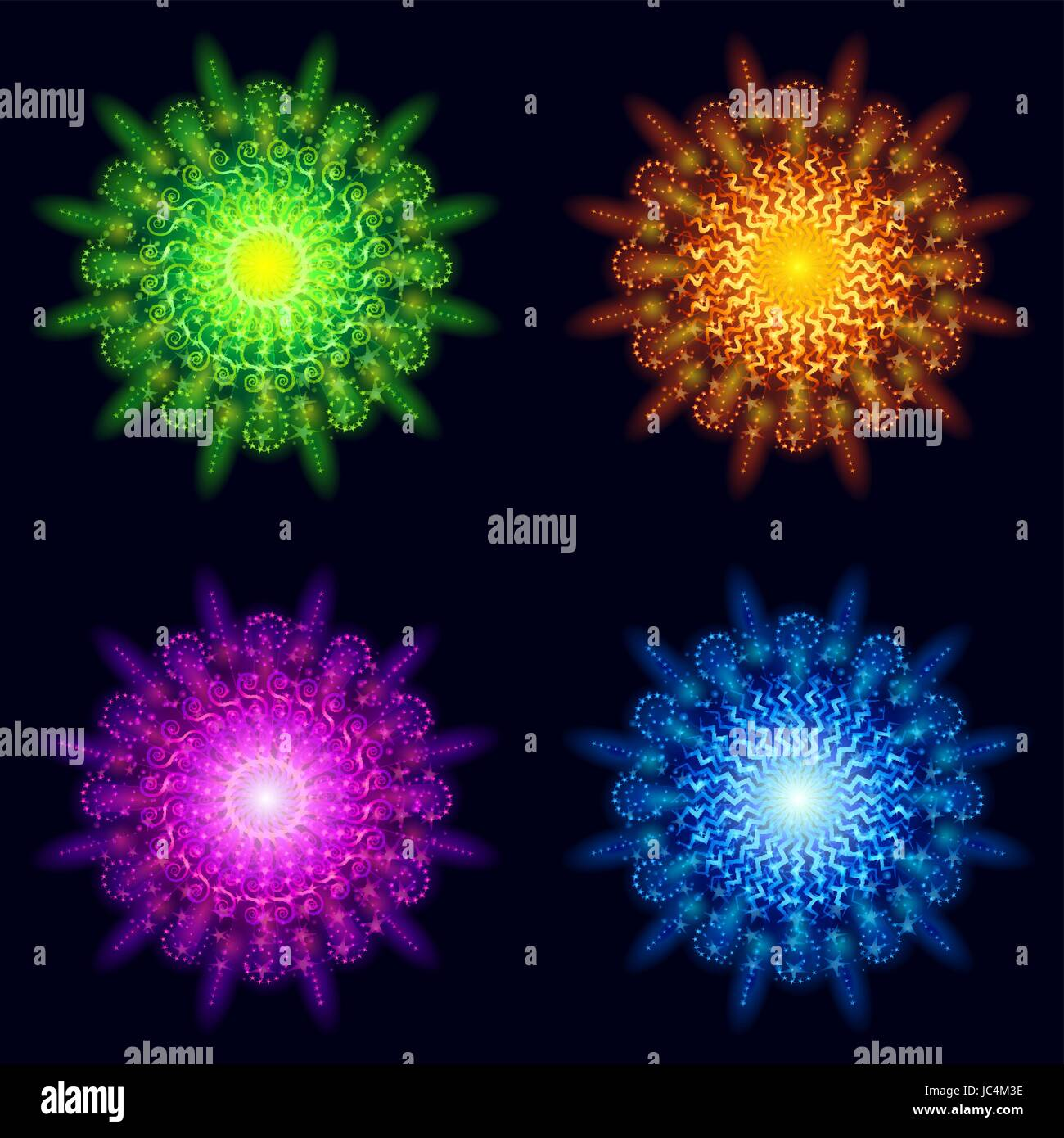 Set of Various Bright Colorful Celebratory Fireworks, Color Elements for Holiday Web Design on Dark Background. Stock Vector