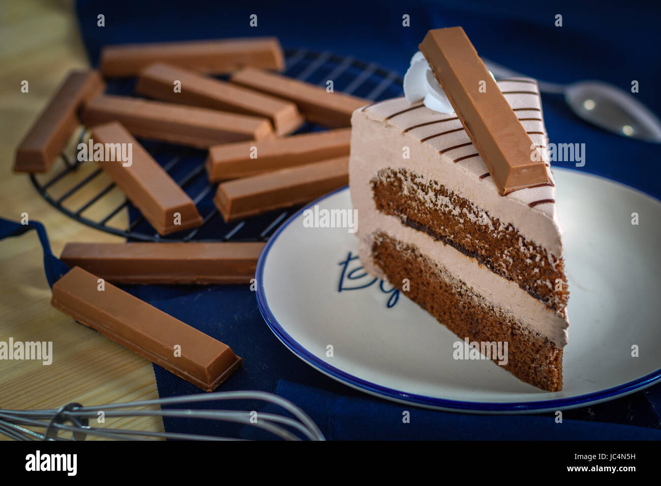 closeup delicious sweet dessert chocolate coke with wafer decoration ,selective focus - Stock Image