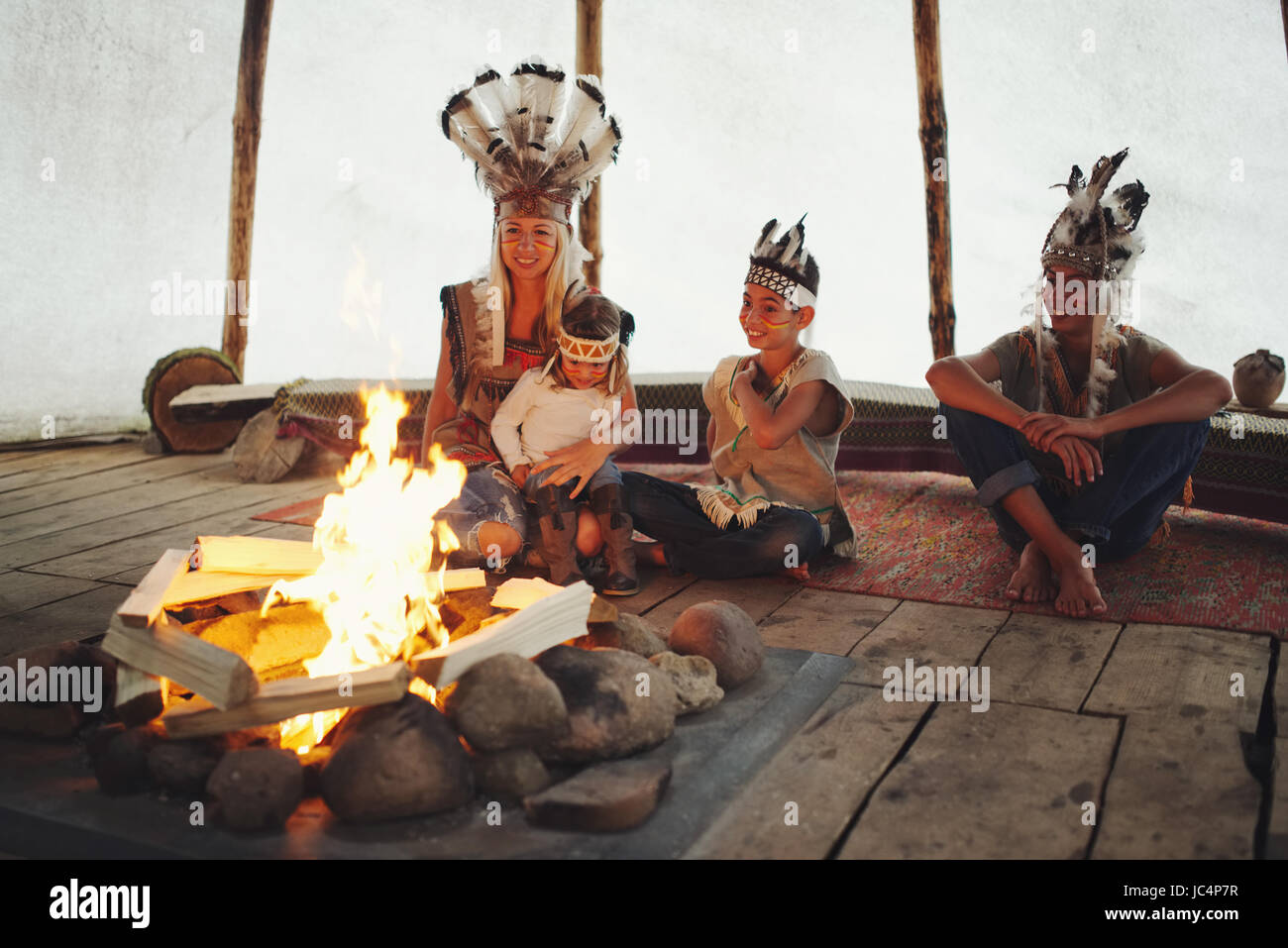 Native American Indians Fire Stock Photos & Native American