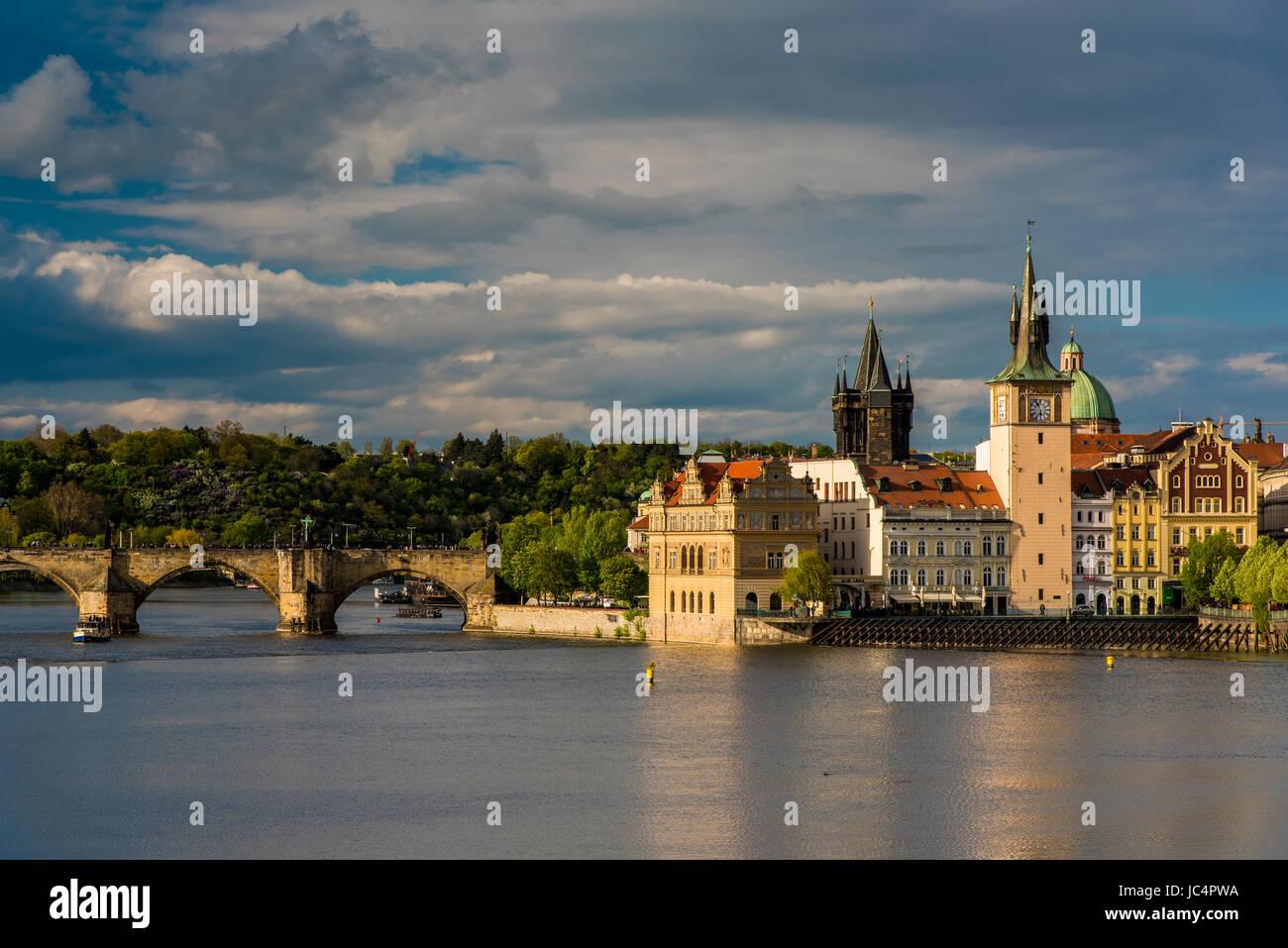 Vltava River and Smetana Museum, Prague, Bohemia, Czech Republic - Stock Image