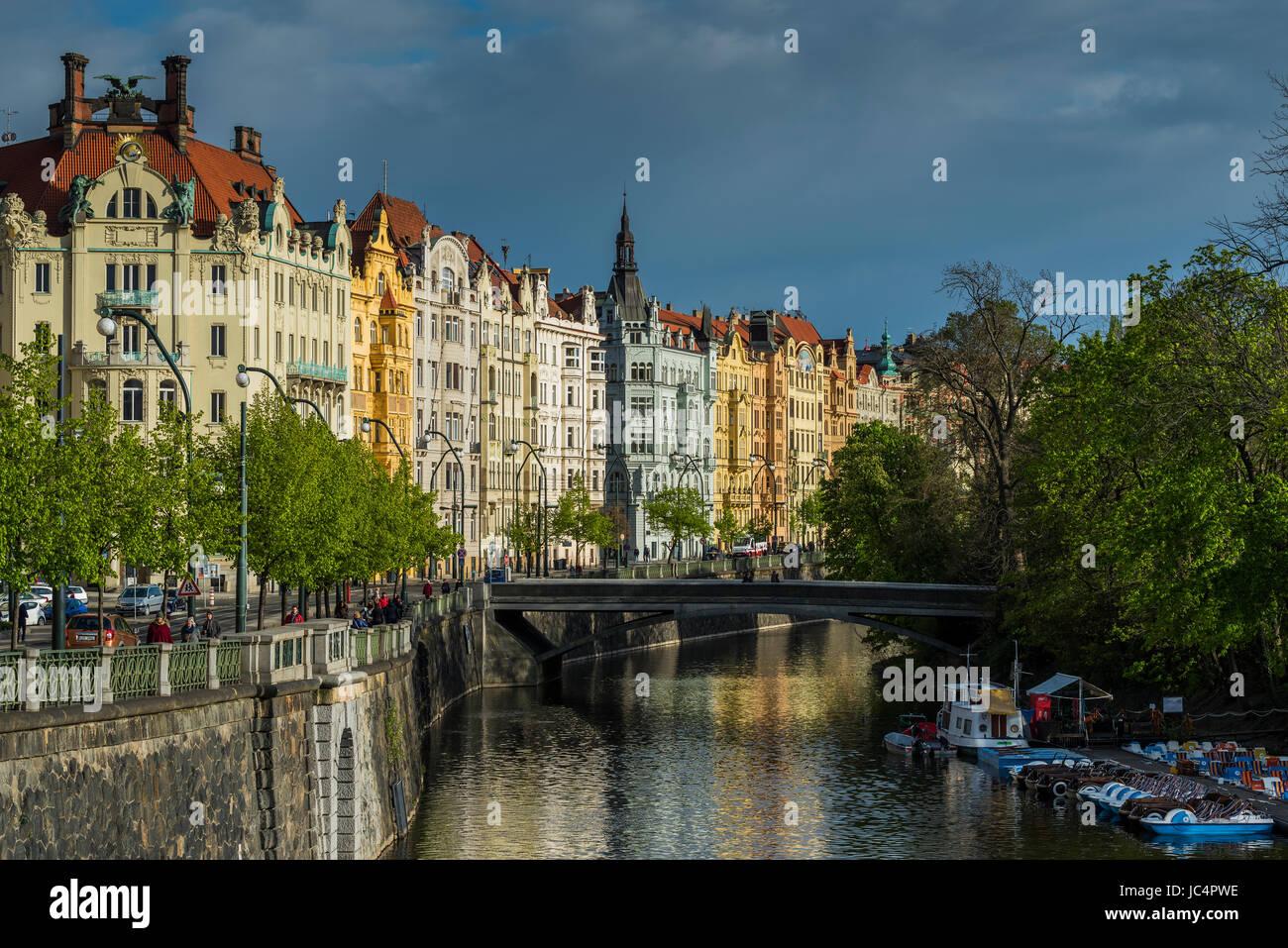 Art nouveau buildings along Vltava River, Prague, Bohemia, Czech Republic - Stock Image
