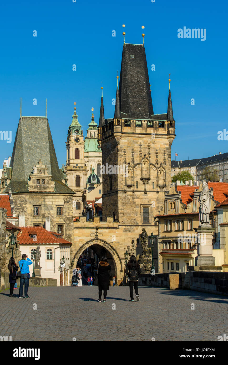 Mala Strana Bridge Tower and Charles Bridge, Prague, Bohemia, Czech Republic - Stock Image
