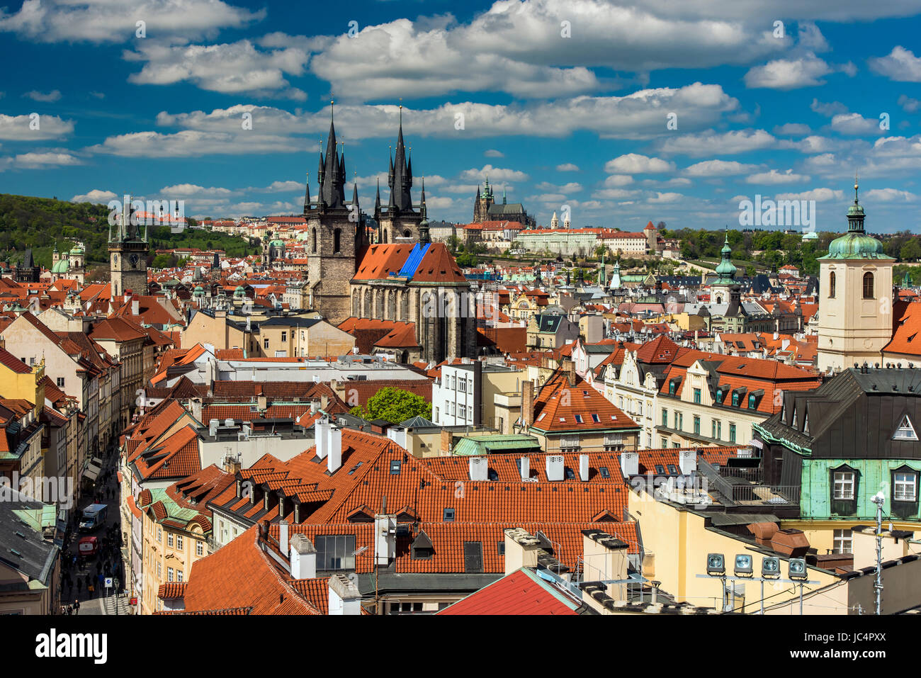 Old town skyline, Prague, Bohemia, Czech Republic - Stock Image