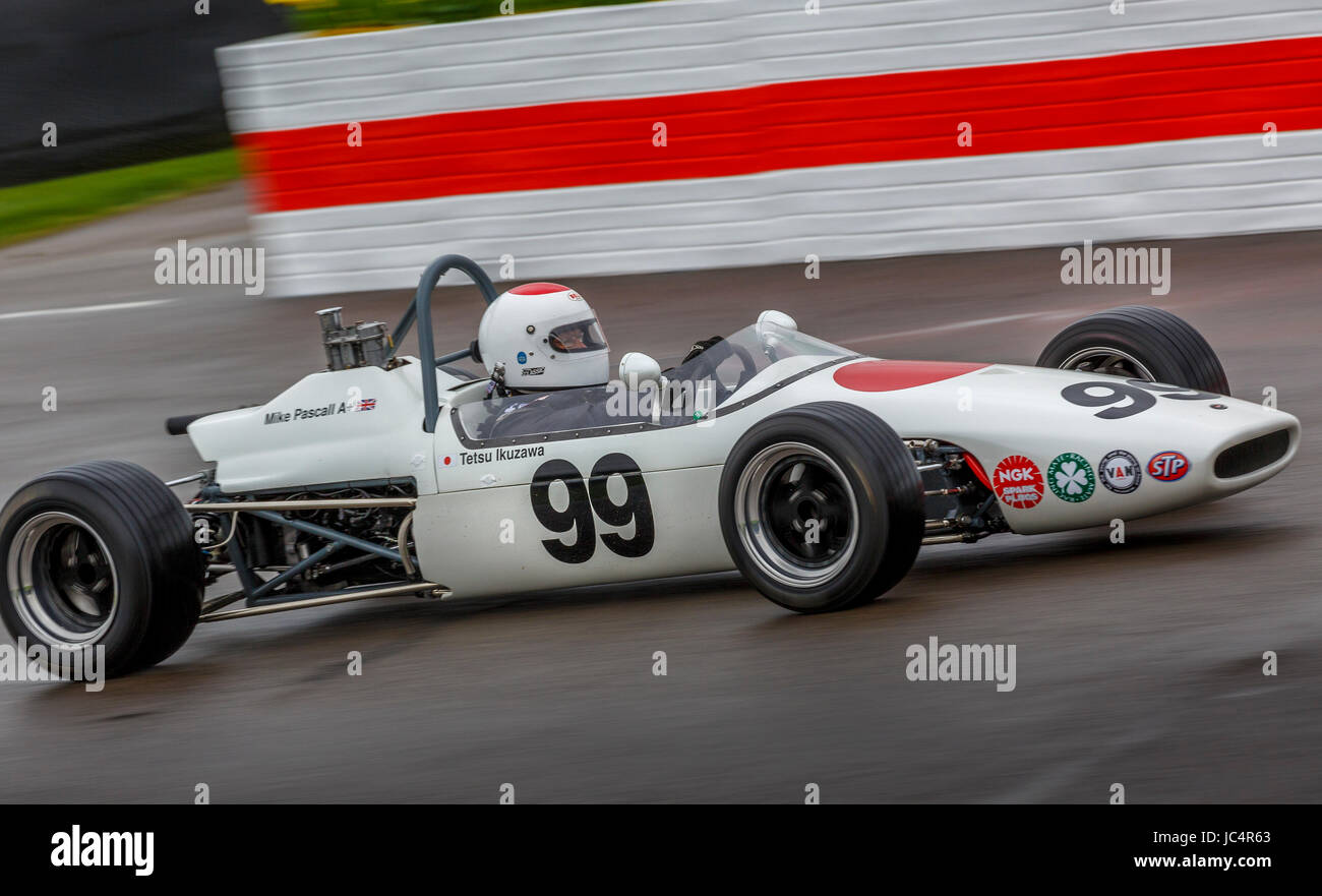 1967 Brabham-Ford BT21 with driver Mike Pascall during the Derek Bell Cup race at Goodwood GRRC 75th Members Meeting, - Stock Image