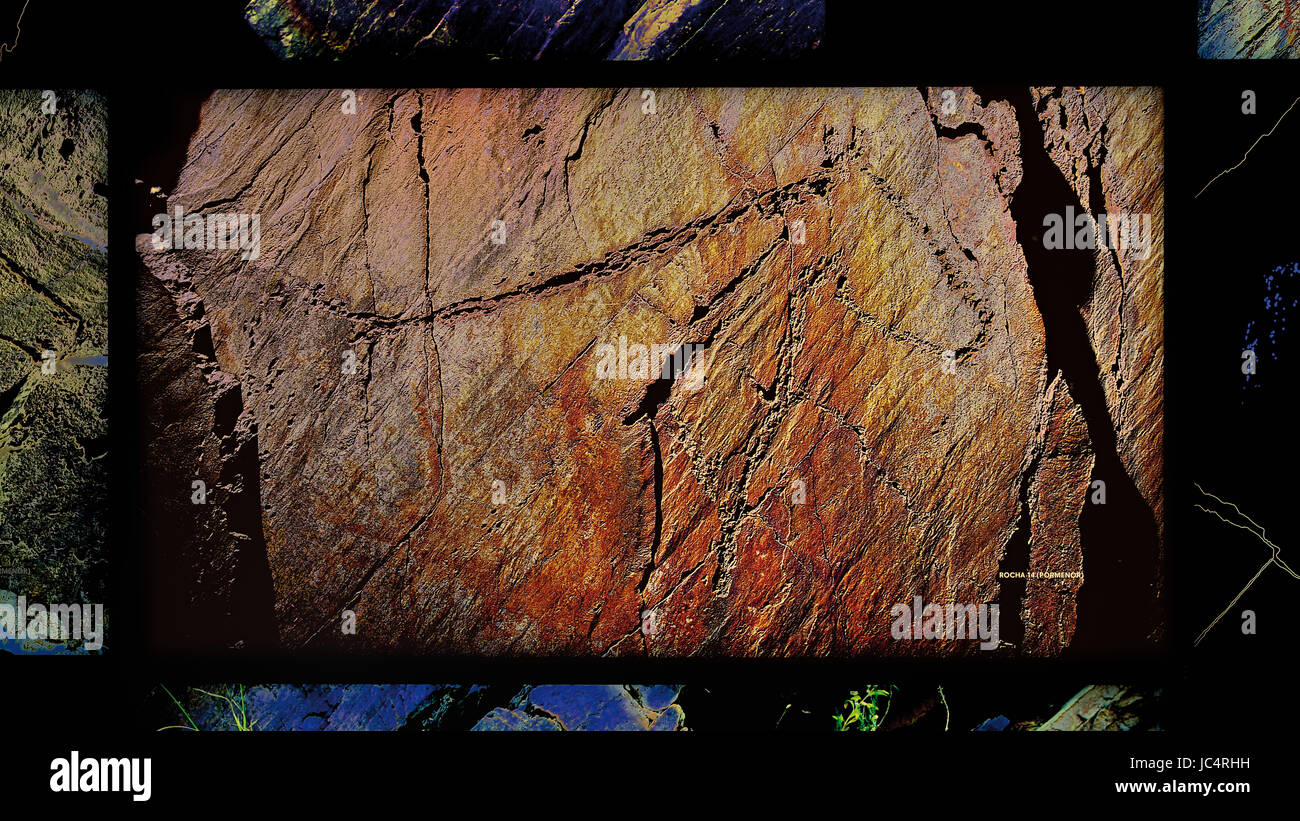 Digital panel inside of the Coa Museum showing the paleolithic engraving of a horse 'Cavalo da Rocha 14' - Stock Image