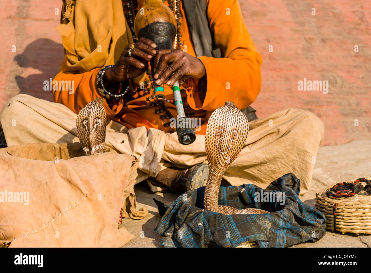 A snake charmer is playing flute to get his cobra dancing at the holy river Ganges at Dashashwamedh Ghat, Main Ghat, Stock Photo