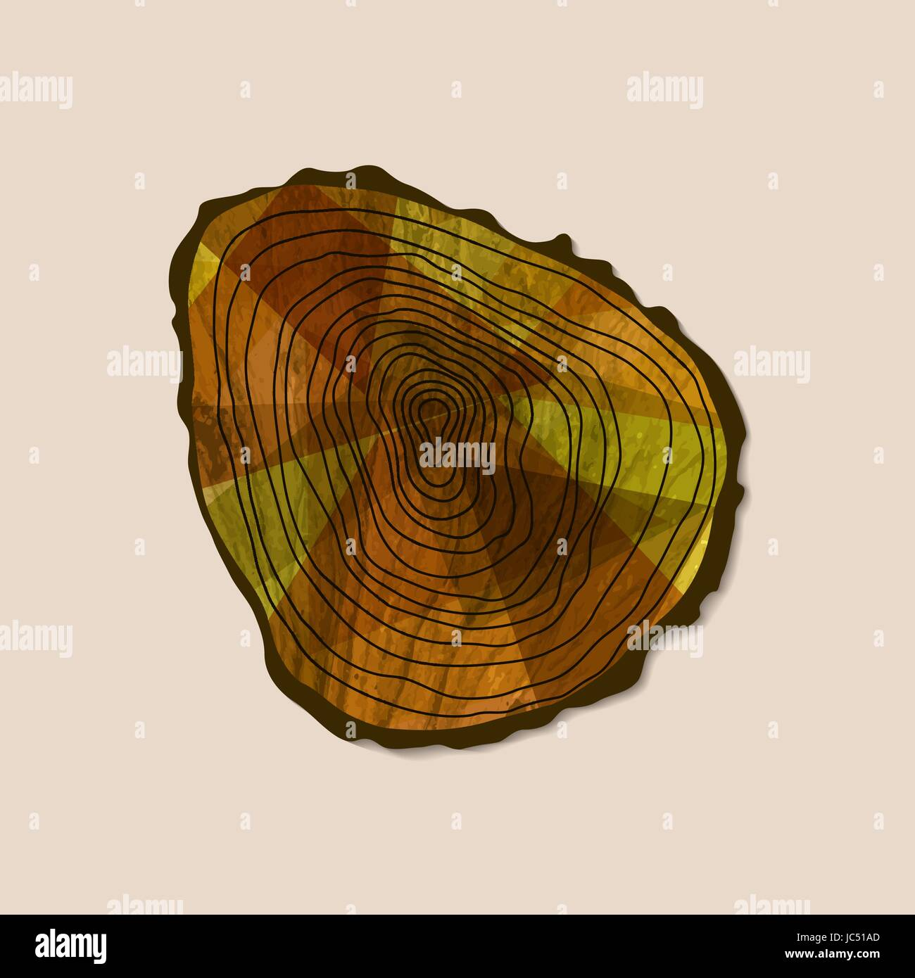 Cut tree trunk art with wood texture from top view. Concept illustration for environment care or nature help project. - Stock Image