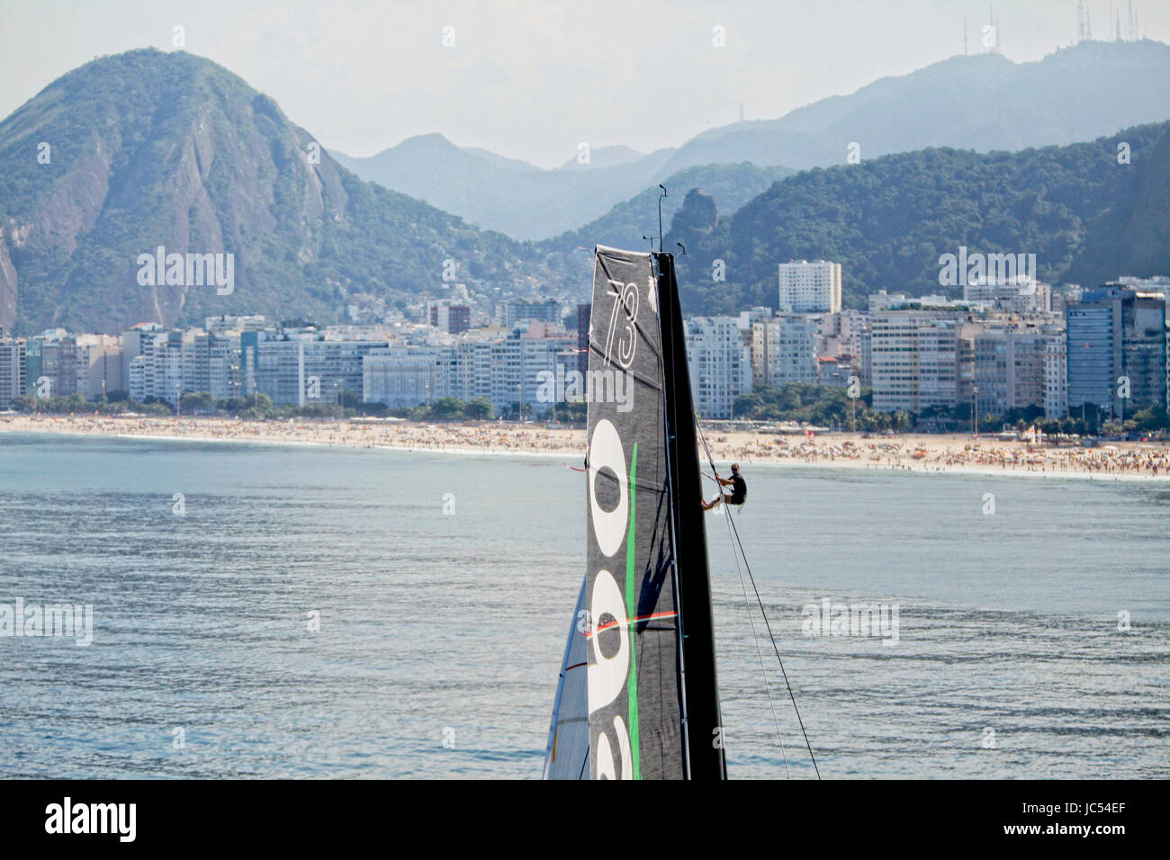 Thomas Coville and the Ultime Class 100' VPLP designed trimaran Sodebo in Rio de Janeiro, Brazil. Thomas Coville - Stock Image