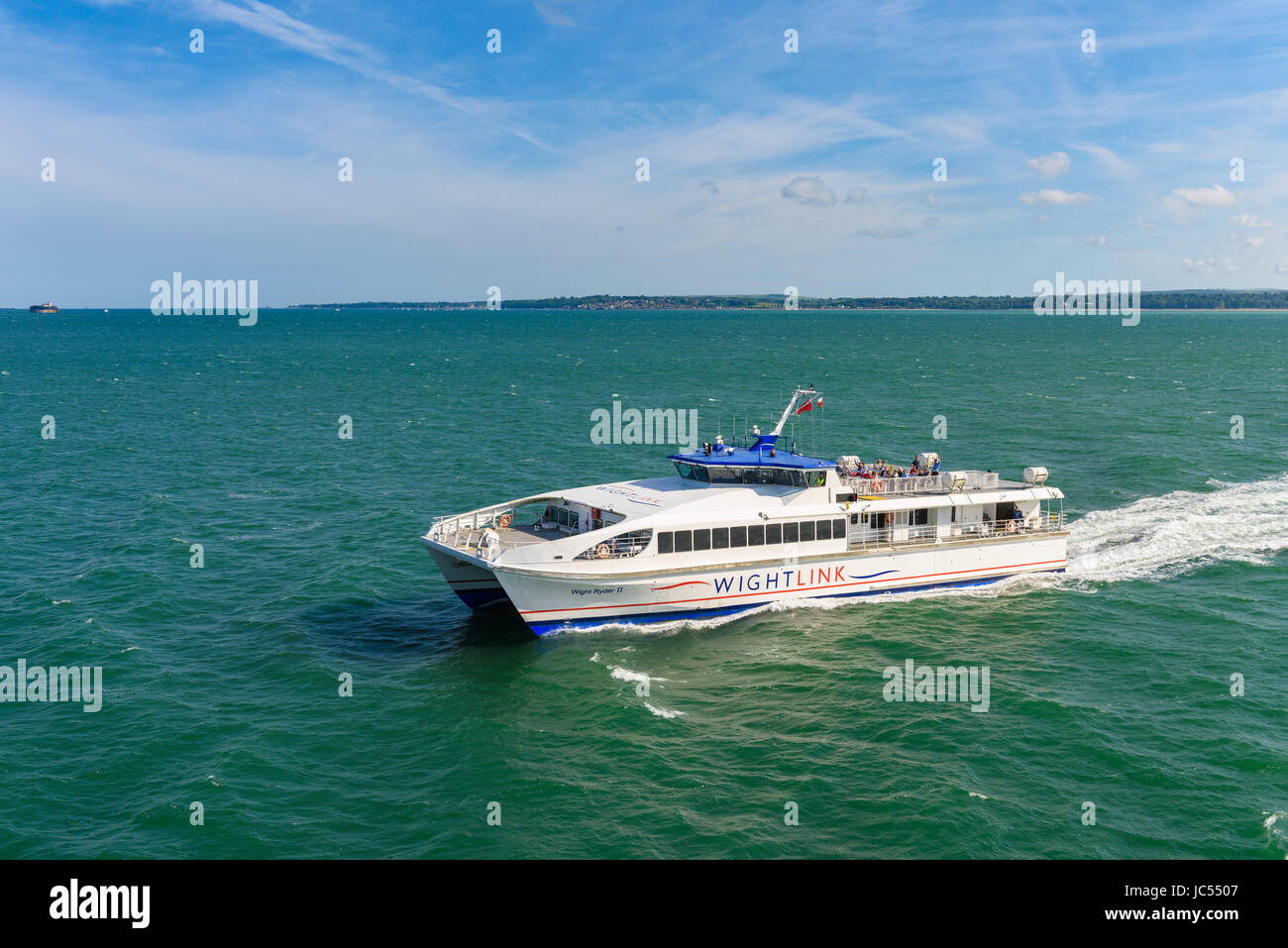 Portsmouth Isle of Wight Foot passenger catamaran ferry, UK - Stock Image